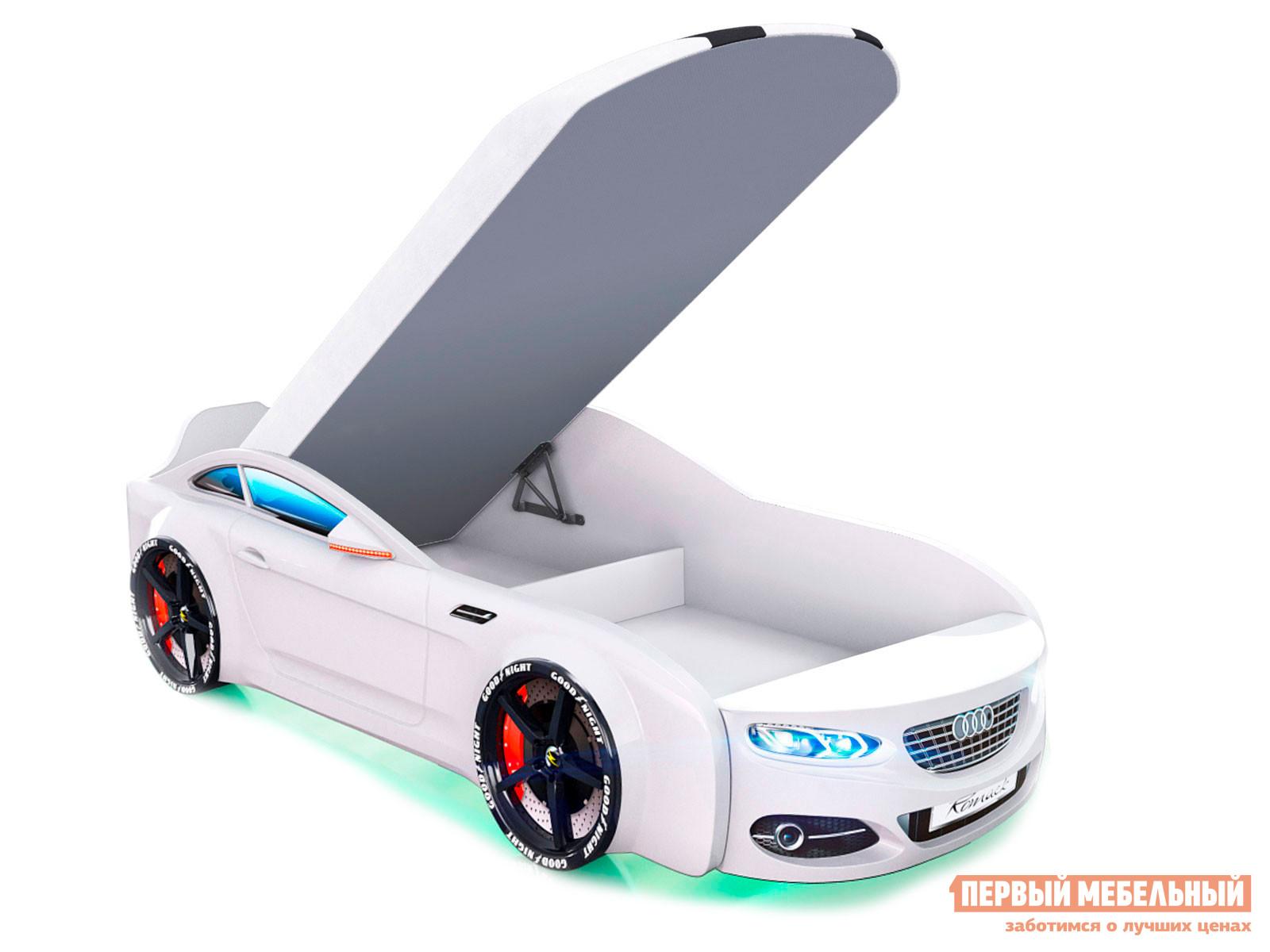 Кровать-машина  Кровать-машина Romack Real-М A7 Белый, Спортивный, С подъемным механизмом, С подсветкой фар и дна