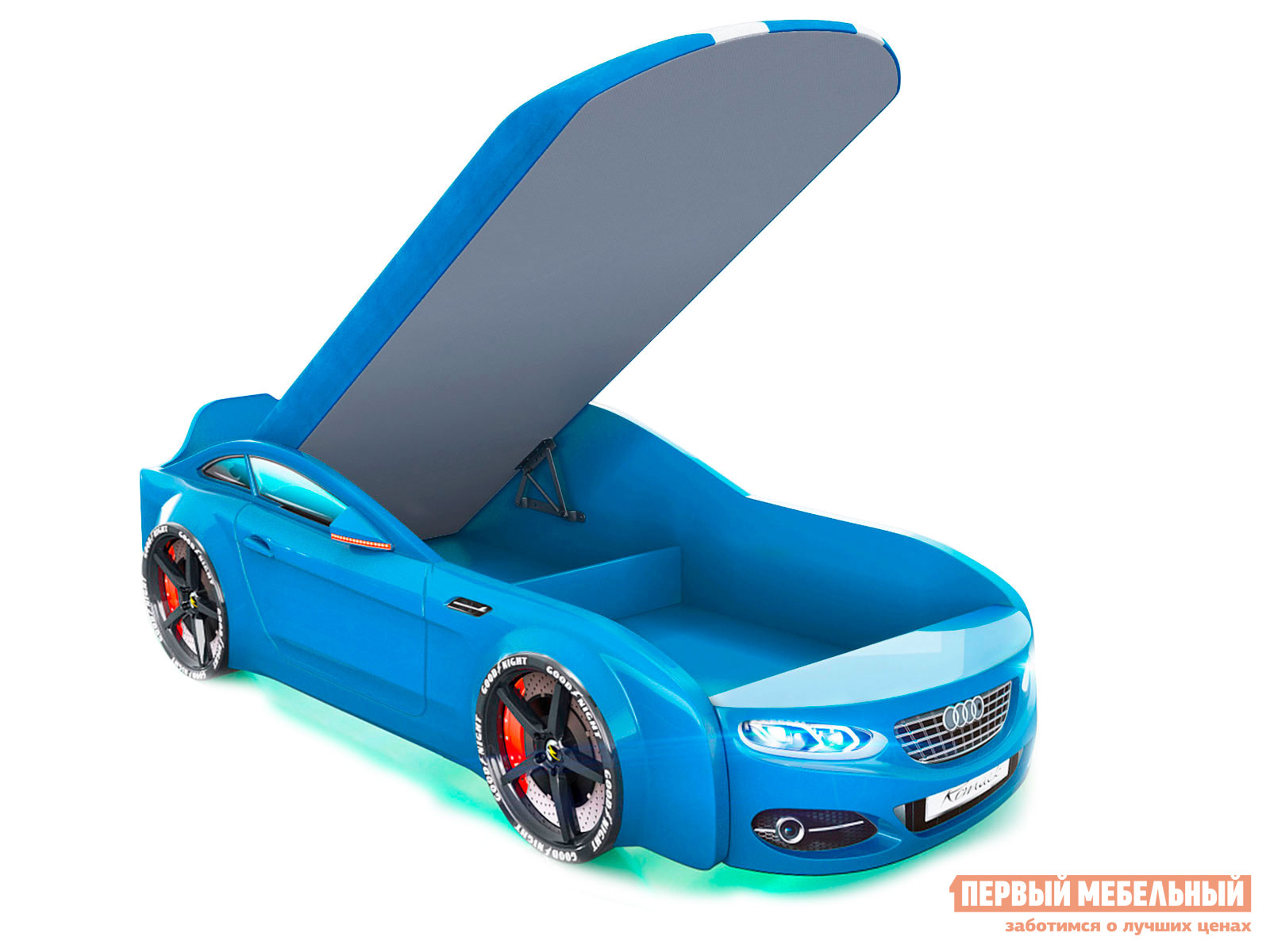 Кровать-машина  Кровать-машина Romack Real-М A7 Голубой, Спортивный, С подъемным механизмом, С подсветкой фар и дна — Кровать-машина Romack Real-М A7 Голубой, Спортивный, С подъемным механизмом, С подсветкой фар и дна