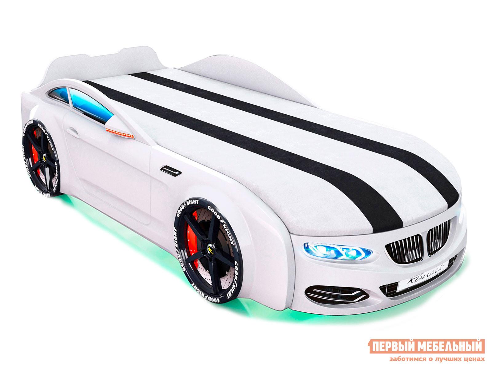 Кровать-машина  Кровать-машина Romack Real-M X5 Белый, Спортивный, Без подъемного механизма, С подсветкой фар и дна