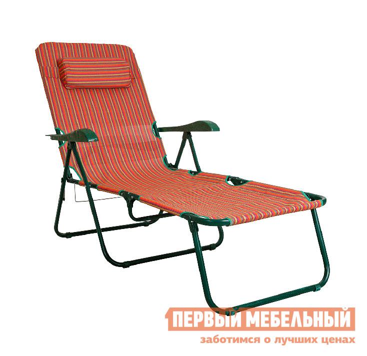 Шезлонг OLSA Таити c447 Красные полоскиЛежаки и шезлонги<br>Габаритные размеры ВхШхГ 1040x720x1520 мм. Кресло-лежак Таити c447 от OLSA — это универсальный атрибут для бездельной неги на солнце или в тени, на даче или на пляже.  Вы всегда можете взять лежак с собой в поход на пикник, он весит всего 9,9 кг и в сложенном виде займет немного места в багажнике авто.  Конструкция модели позволяет настроить кресло в пяти различных положениях.  Для полного комфорта лежак дополнен удобными пластиковыми подлокотниками, а также мягкой подушкой под голову. В разложенном виде размеры лежака составляют (ВхШхГ): 1040 х 720 х 1520 мм.  Он подходит и для ребенка, и для взрослого.  Каждая часть лежака имеет некоторые ограничения в нагрузке:  на сиденье — 70 кг, на спинку — 40 кг, ножная часть — 10 кг.  Лежак рассчитан на общую распределенную нагрузку 120 кг. Каркас выполняется из стальной трубы с полимерным покрытием, диаметр 22 х 1 мм и 18 х 1 мм.  Для изготовления полотна используется прочный материал текстилен.  Наполнение в подушке — формовой поролон полукруглой формы, толщина 60 мм.  Подголовник закрепляется на спинке при помощи эластичной ленты.<br><br>Цвет: Красный<br>Высота мм: 1040<br>Ширина мм: 720<br>Глубина мм: 1520<br>Кол-во упаковок: 1<br>Форма поставки: В собранном виде<br>Срок гарантии: 18 месяцев<br>Тип: Складные<br>Тип: Трансформер<br>Тип: Кресла-шезлонги<br>Назначение: Для бассейна<br>Назначение: Для дачи<br>Назначение: Пляжные<br>Материал: Металл<br>Материал: Ткань<br>Размер: Одноместные<br>С подголовником: Да