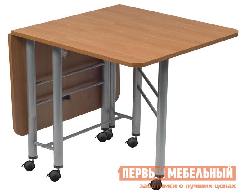 Стол-книжка МегаЭлатон Венеция-03К БукСтолы-книжки<br>Габаритные размеры ВхШхГ 750x340 / 1500x880 мм. Отличается от модели стола-книжки Венеция 3 наличием опорных колесиков с тормозами. Компактные размеры стола в сложенном состоянии позволяют перемещать этот трансформер в любом пространстве.  За таким столом есть возможность собрать друзей и близких вместе.  В разложенном состоянии столешница превращается в большой стол.  Сложенную конструкцию стола-трансформера можно использовать как небольшой стеллаж. Размеры в открытом состоянии: 1500х880х750. Размеры в закрытом состоянии: 340х880х750. Стол поставляется в собранном виде в оригинальной упаковке. Каркас стола изготавливается из металла с порошковым напылением, столешница — ЛДСП.<br><br>Цвет: Светлое дерево<br>Высота мм: 750<br>Ширина мм: 340 / 1500<br>Глубина мм: 880<br>Кол-во упаковок: 1<br>Форма поставки: В собранном виде<br>Срок гарантии: 12 месяцев<br>Тип: Раскладные<br>Тип: Трансформер<br>Материал: Дерево<br>Материал: ЛДСП<br>Форма: Прямоугольные<br>Размер: Маленькие<br>На колесиках: Да<br>С металлическими ножками: Да