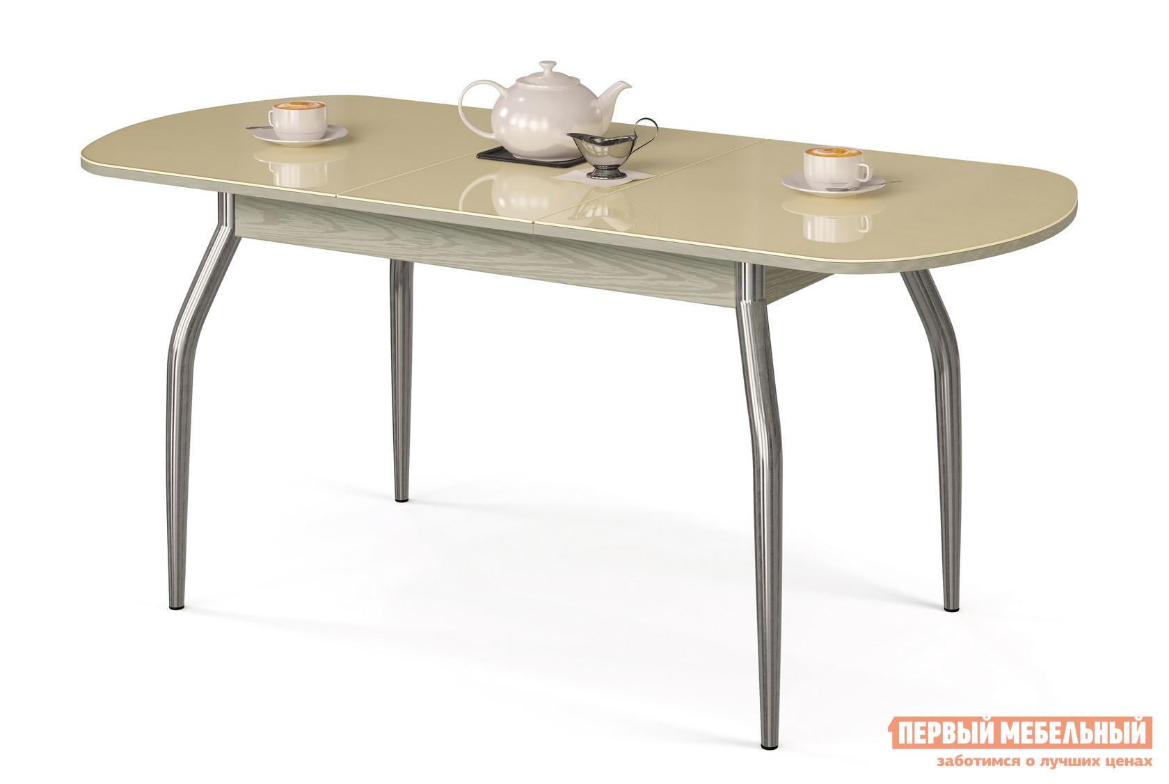 Кухонный стол МегаЭлатон Сиена-Стекло Бежевый, Дуб швейцарскийКухонные столы<br>Габаритные размеры ВхШхГ 750x1340 / 1740x750 мм. Раздвижной обеденный стол со стеклянной накладкой на столешнице.  Металлические ножки слегка изогнуты, что делает конструкцию более изящной.  Для легкости раздвижения стола использован практичный шариковый механизм. Размер стола:В собранном виде (ВхШхГ): 750 х 1340 х 750 мм;В разложенном виде (ВхШхГ): 750 х 1740 х 750 мм;Ножки выполнены и хромированной металлической трубы.  Столешница изготовлена из ЛДСП толщиной 18 мм.  Торцевые части деталей облицованы кромкой ПВХ толщиной 2 мм.  Стеклянная накладка имеет толщину 4 мм.  Обратите внимание! Перед оформлением заказа необходимо выбрать подходящий вам вариант столешницы и стеклянной накладки.  Центральная часть столешницы стеклом не покрывается.<br><br>Цвет: Бежевый<br>Высота мм: 750<br>Ширина мм: 1340 / 1740<br>Глубина мм: 750<br>Кол-во упаковок: 1<br>Форма поставки: В разобранном виде<br>Срок гарантии: 12 месяцев<br>Тип: Раздвижные<br>Тип: Трансформер<br>Материал: Дерево<br>Материал: Стекло<br>Материал: ЛДСП<br>Материал: МДФ<br>Форма: Овальные<br>Размер: Большие<br>С металлическими ножками: Да<br>Глянцевые: Да