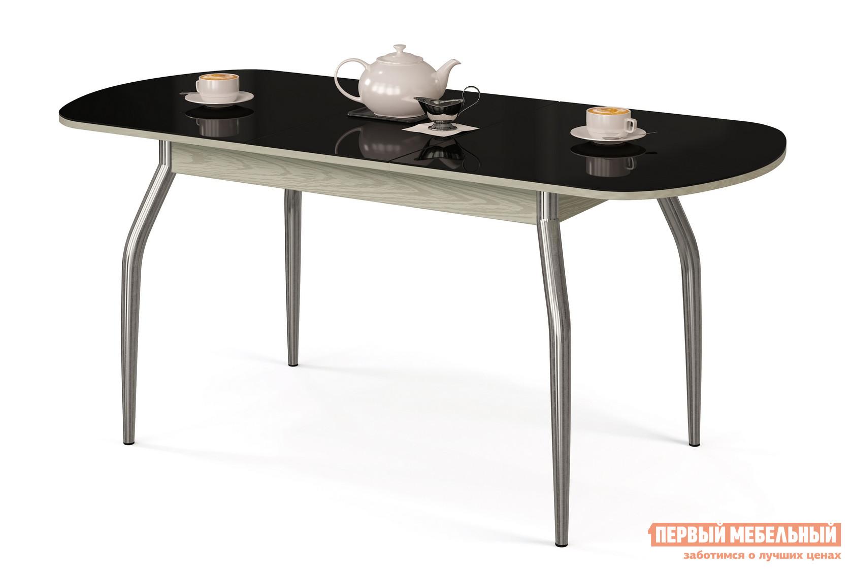 Кухонный стол МегаЭлатон Сиена-Стекло Черный, Венге италияКухонные столы<br>Габаритные размеры ВхШхГ 750x1340 / 1740x750 мм. Раздвижной обеденный стол со стеклянной накладкой на столешнице.  Металлические ножки слегка изогнуты, что делает конструкцию более изящной.  Для легкости раздвижения стола использован практичный шариковый механизм. Размер стола:В собранном виде (ВхШхГ): 750 х 1340 х 750 мм;В разложенном виде (ВхШхГ): 750 х 1740 х 750 мм;Ножки выполнены и хромированной металлической трубы.  Столешница изготовлена из ЛДСП толщиной 18 мм.  Торцевые части деталей облицованы кромкой ПВХ толщиной 2 мм.  Стеклянная накладка имеет толщину 4 мм.  Обратите внимание! Перед оформлением заказа необходимо выбрать подходящий вам вариант столешницы и стеклянной накладки.  Центральная часть столешницы стеклом не покрывается.<br><br>Цвет: Венге италия<br>Цвет: Черный<br>Высота мм: 750<br>Ширина мм: 1340 / 1740<br>Глубина мм: 750<br>Кол-во упаковок: 1<br>Форма поставки: В разобранном виде<br>Срок гарантии: 12 месяцев<br>Тип: Раздвижные, Трансформер<br>Материал: Деревянные, Стеклянные, из ЛДСП, из МДФ<br>Форма: Овальные<br>Размер: Большие<br>Особенности: С металлическими ножками, Глянцевые