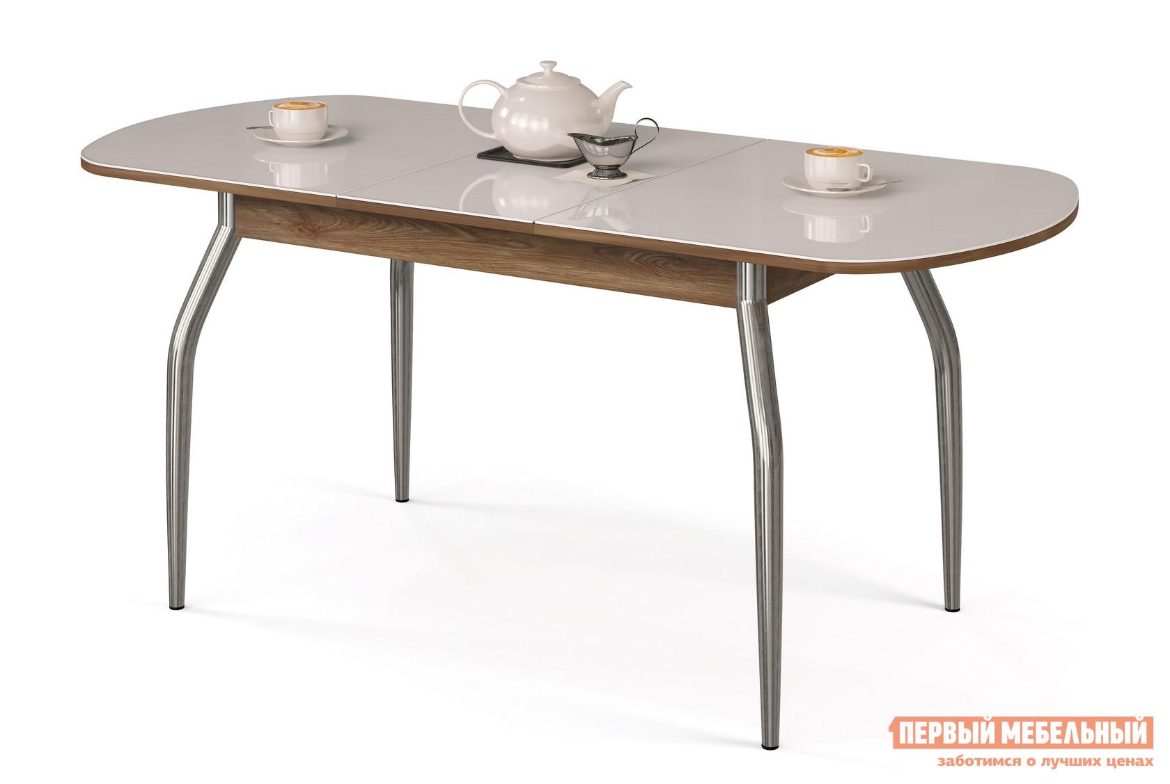 Кухонный стол МегаЭлатон Сиена-Стекло Белый, Венге италияКухонные столы<br>Габаритные размеры ВхШхГ 750x1340 / 1740x750 мм. Раздвижной обеденный стол со стеклянной накладкой на столешнице.  Металлические ножки слегка изогнуты, что делает конструкцию более изящной.  Для легкости раздвижения стола использован практичный шариковый механизм. Размер стола:В собранном виде (ВхШхГ): 750 х 1340 х 750 мм;В разложенном виде (ВхШхГ): 750 х 1740 х 750 мм;Ножки выполнены и хромированной металлической трубы.  Столешница изготовлена из ЛДСП толщиной 18 мм.  Торцевые части деталей облицованы кромкой ПВХ толщиной 2 мм.  Стеклянная накладка имеет толщину 4 мм.  Обратите внимание! Перед оформлением заказа необходимо выбрать подходящий вам вариант столешницы и стеклянной накладки.  Центральная часть столешницы стеклом не покрывается.<br><br>Цвет: Белый<br>Высота мм: 750<br>Ширина мм: 1340 / 1740<br>Глубина мм: 750<br>Кол-во упаковок: 1<br>Форма поставки: В разобранном виде<br>Срок гарантии: 12 месяцев<br>Тип: Раздвижные<br>Тип: Трансформер<br>Материал: Дерево<br>Материал: Стекло<br>Материал: ЛДСП<br>Материал: МДФ<br>Форма: Овальные<br>Размер: Большие<br>С металлическими ножками: Да<br>Глянцевые: Да