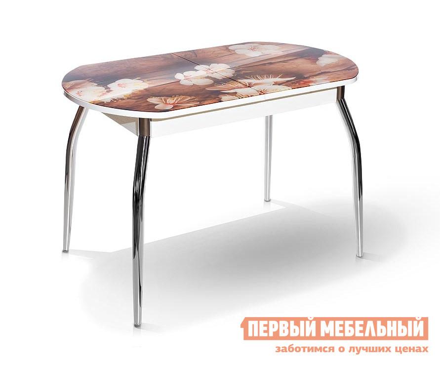 Кухонный стол МегаЭлатон Сиена со стеклом фотопечать (каркас белый) Абрикос / Белый каркасКухонные столы<br>Габаритные размеры ВхШхГ 750x1340 / 1740x750 мм. Столешница раздвижного обеденного стола оформлена красивой и практичной фотопечатью.  Изящные металлические ножки придают модели дополнительный шарм.  Если вам необходимо принимать гостей, можно легко увеличить полезную площадь стола с помощью удобного шарикового механизма. Размер стола:В собранном виде (ВхШхГ): 750 х 1340 х 750 мм;В разложенном виде (ВхШхГ): 750 х 1740 х 750 мм;Металлические ножки выполнены из хромированной металлической трубы.  Каркас изготовлен из ЛДСП толщиной 16 мм.  Торцевые части облицованы противоударной пленкой ПВХ толщиной 2 мм.  Столешница выполнена из стекла с фотопечатью 4 мм.<br><br>Цвет: Абрикос / Белый каркас<br>Цвет: Коричневый<br>Высота мм: 750<br>Ширина мм: 1340 / 1740<br>Глубина мм: 750<br>Кол-во упаковок: 1<br>Форма поставки: В разобранном виде<br>Срок гарантии: 12 месяцев<br>Тип: Раздвижные, Трансформер<br>Материал: Деревянные, Стеклянные, из ЛДСП<br>Форма: Овальные<br>Размер: Большие<br>Особенности: С металлическими ножками, Глянцевые