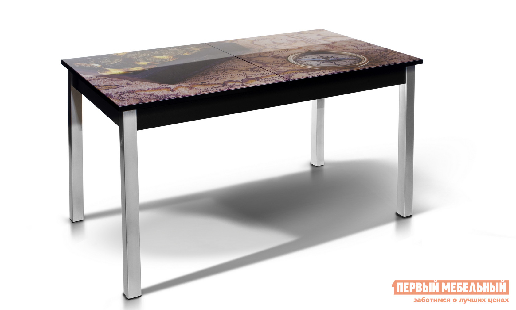 Кухонный стол МегаЭлатон Лугано со стеклом фотопечать (каркас черный) Компас / Черный каркас