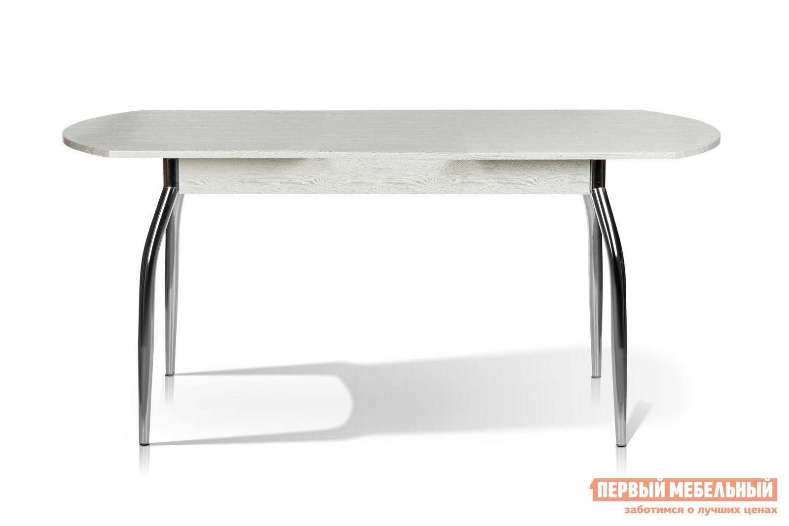Кухонный стол МегаЭлатон Сиена Мини Дуб белый патинаКухонные столы<br>Габаритные размеры ВхШхГ 750x1120 / 1440x650 мм. Данная модель стола идеально подходит для небольшого помещения.  Столешница легко раздвигается, увеличиваясь в длине.  Для модели используется шариковый механизм раздвижения. Размер столешницы в собранном виде (ШхГ): 1120 х 650 мм;Размер столешницы в разложенном виде (ШхГ): 1440 х 650 мм;Металлические ножки выполнены из хромированной трубы.  Каркас столешницы изготовлен из ЛДСП толщиной 16 мм и МДФ толщиной 18 мм.  Торцевые части облицованы противоударной пленкой ПВХ толщиной 2 мм.<br><br>Цвет: Белый<br>Высота мм: 750<br>Ширина мм: 1120 / 1440<br>Глубина мм: 650<br>Кол-во упаковок: 1<br>Форма поставки: В разобранном виде<br>Срок гарантии: 12 месяцев<br>Тип: Раздвижные<br>Тип: Трансформер<br>Материал: Дерево<br>Материал: ЛДСП<br>Материал: МДФ<br>Форма: Овальные<br>Размер: Маленькие<br>С металлическими ножками: Да