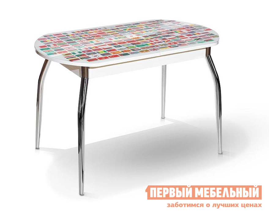 Кухонный стол МегаЭлатон Сиена-Мини со стеклом фотопечать (каркас белый) Страны мира / Белый каркасКухонные столы<br>Габаритные размеры ВхШхГ 750x1120 / 1440x650 мм. Обеденный стол с оригинальной фотопечатью — прекрасный вариант для создания красивого интерьера кухни.  Данная модель стола идеально подходит для небольшого помещения.  Столешница легко раздвигается, увеличиваясь в длине.  Для модели используется шариковый механизм раздвижения. Размер стола:В собранном виде (ВхШхГ): 750 х 1120 х 650 мм;В разложенном виде (ВхШхГ): 750 х 1440 х 650 мм;Металлические ножки выполнены из хромированной металлической трубы.  Каркас изготовлен из ЛДСП толщиной 16 мм.  Торцевые части облицованы противоударной пленкой ПВХ толщиной 2 мм.  Столешница выполнена из стекла с фотопечатью 4 мм.<br><br>Цвет: Страны мира / Белый каркас<br>Цвет: Мультицвет<br>Высота мм: 750<br>Ширина мм: 1120 / 1440<br>Глубина мм: 650<br>Кол-во упаковок: 1<br>Форма поставки: В разобранном виде<br>Срок гарантии: 12 месяцев<br>Тип: Раздвижные, Трансформер<br>Материал: Деревянные, Стеклянные, из ЛДСП<br>Форма: Овальные<br>Размер: Маленькие<br>Особенности: С металлическими ножками, Глянцевые