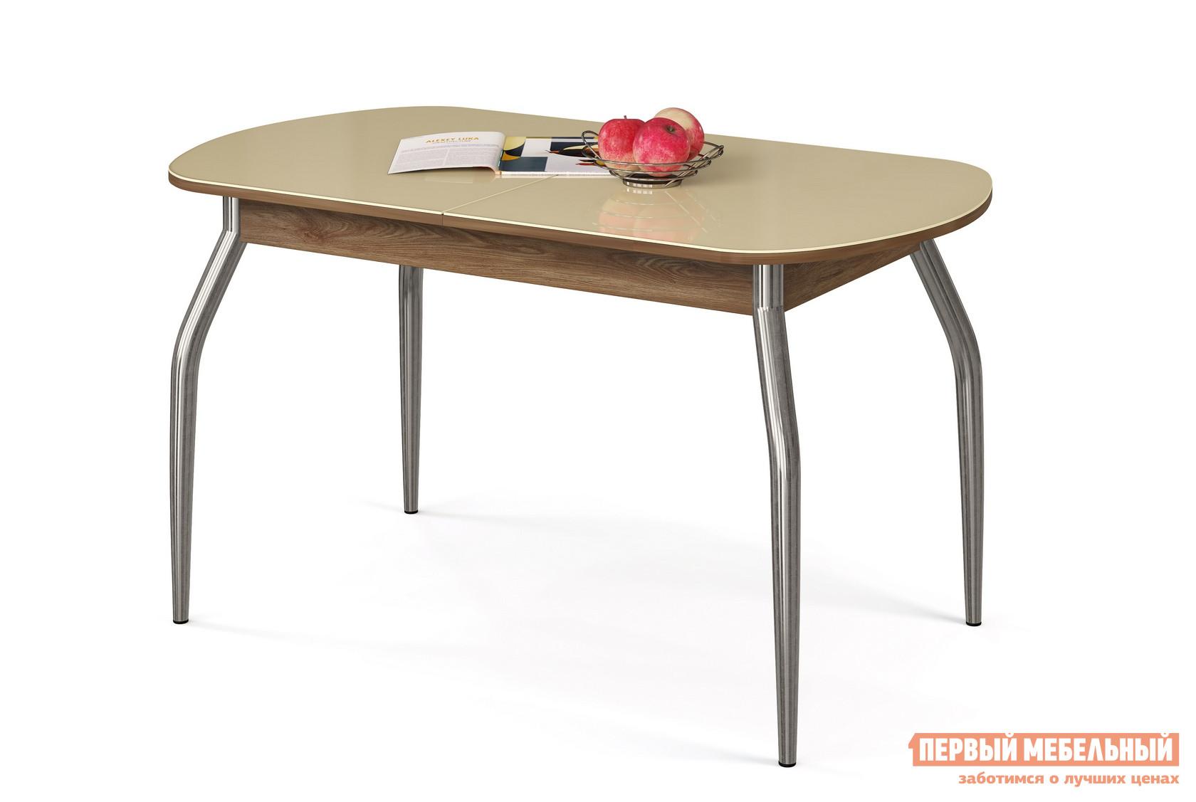 Кухонный стол МегаЭлатон Сиена Мини-Стекло Бежевый, Дуб швейцарский