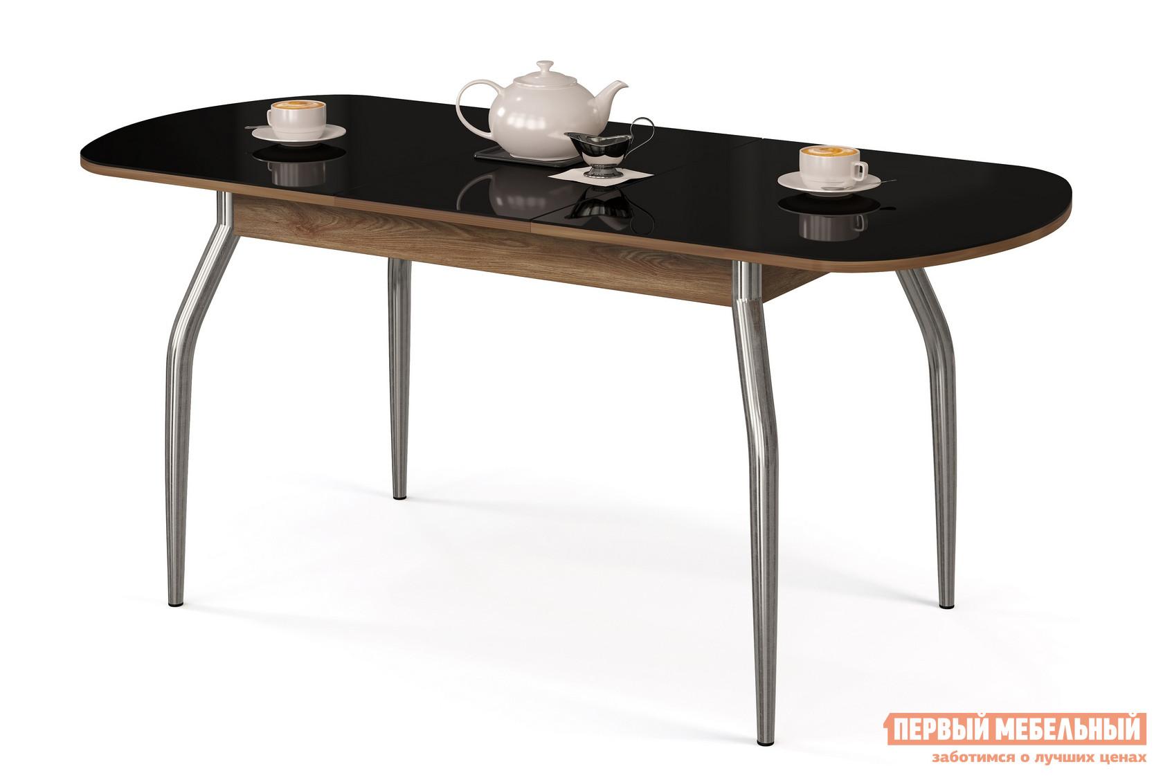 Кухонный стол МегаЭлатон Сиена Мини-Стекло Черный, Дуб швейцарский