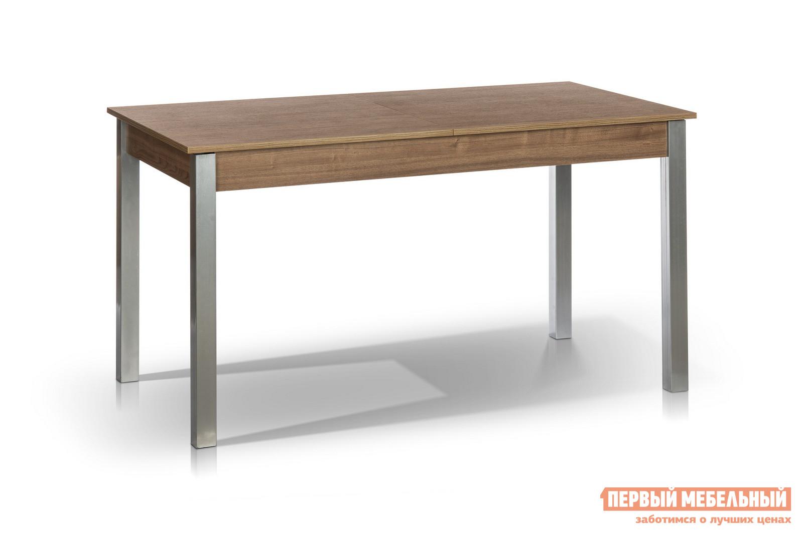 Кухонный стол МегаЭлатон Лугано Каштан минскКухонные столы<br>Габаритные размеры ВхШхГ 750x1340 / 1740x750 мм. Если вы ищите особенный обеденный стол на кухню, то данная модель идеально вам подходит.  Стол раскладывается, поэтому вы становитесь обладателем сразу двух изделий: компактного кухонного стола и большого обеденного. Размер столешницы в собранном виде (ШхГ): 1340 х 750 мм;Размер столешницы в разложенном виде (ШхГ): 1740 х 750 мм;Металлические ножки выполнены из профильной стальной трубы размером 50 х 50 мм.  Каркас столешницы изготовлен из ЛДСП толщиной 16 мм и МДФ толщиной 18 мм.  Торцевые части облицованы противоударной пленкой ПВХ толщиной 2 мм.  Модель оснащена шариковым механизмом благодаря которому столешница легко и быстро раздвигается.<br><br>Цвет: Коричневое дерево<br>Высота мм: 750<br>Ширина мм: 1340 / 1740<br>Глубина мм: 750<br>Кол-во упаковок: 1<br>Форма поставки: В разобранном виде<br>Срок гарантии: 12 месяцев<br>Тип: Раздвижные<br>Тип: Трансформер<br>Материал: Дерево<br>Материал: ЛДСП<br>Материал: МДФ<br>Форма: Прямоугольные<br>Размер: Большие<br>С металлическими ножками: Да