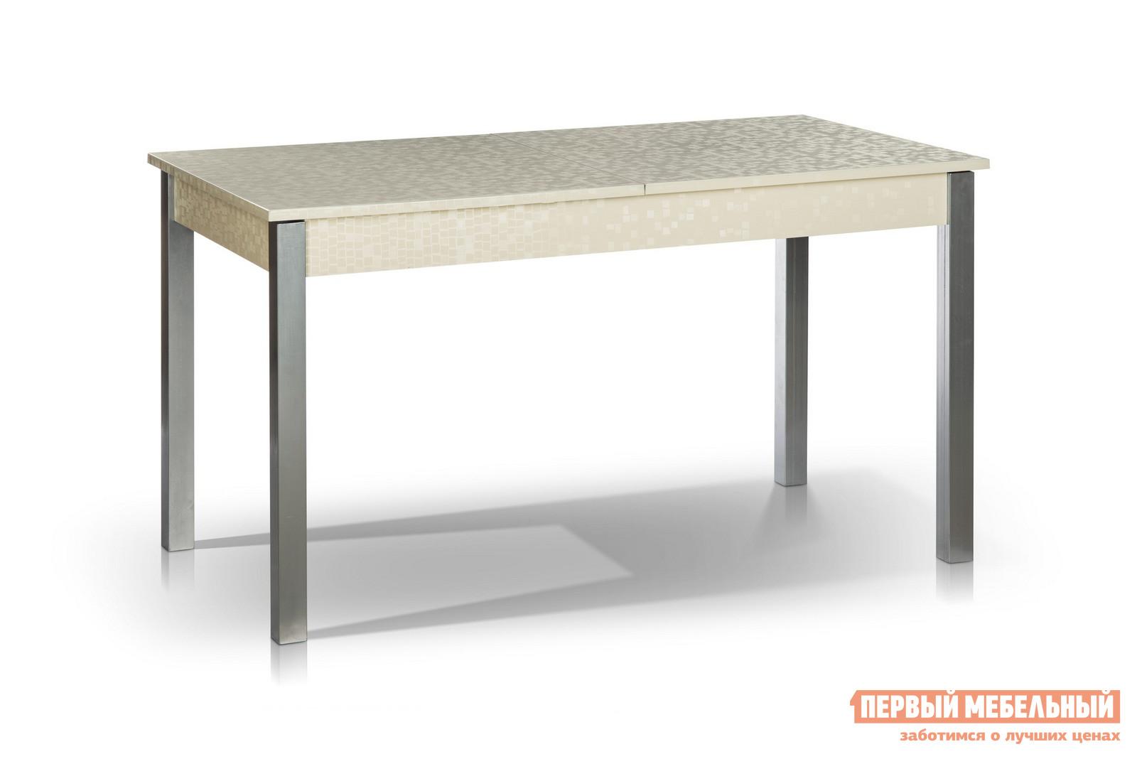 Кухонный стол МегаЭлатон Лугано Мозаика молочнаяКухонные столы<br>Габаритные размеры ВхШхГ 750x1340 / 1740x750 мм. Если вы ищите особенный обеденный стол на кухню, то данная модель идеально вам подходит.  Стол раскладывается, поэтому вы становитесь обладателем сразу двух изделий: компактного кухонного стола и большого обеденного. Размер столешницы в собранном виде (ШхГ): 1340 х 750 мм;Размер столешницы в разложенном виде (ШхГ): 1740 х 750 мм;Металлические ножки выполнены из профильной стальной трубы размером 50 х 50 мм.  Каркас столешницы изготовлен из ЛДСП толщиной 16 мм и МДФ толщиной 18 мм.  Торцевые части облицованы противоударной пленкой ПВХ толщиной 2 мм.  Модель оснащена шариковым механизмом благодаря которому столешница легко и быстро раздвигается.<br><br>Цвет: Мозаика молочная<br>Цвет: Белый<br>Высота мм: 750<br>Ширина мм: 1340 / 1740<br>Глубина мм: 750<br>Кол-во упаковок: 1<br>Форма поставки: В разобранном виде<br>Срок гарантии: 12 месяцев<br>Тип: Раздвижные, Трансформер<br>Материал: Деревянные, из ЛДСП, из МДФ<br>Форма: Прямоугольные<br>Размер: Большие<br>Особенности: С металлическими ножками
