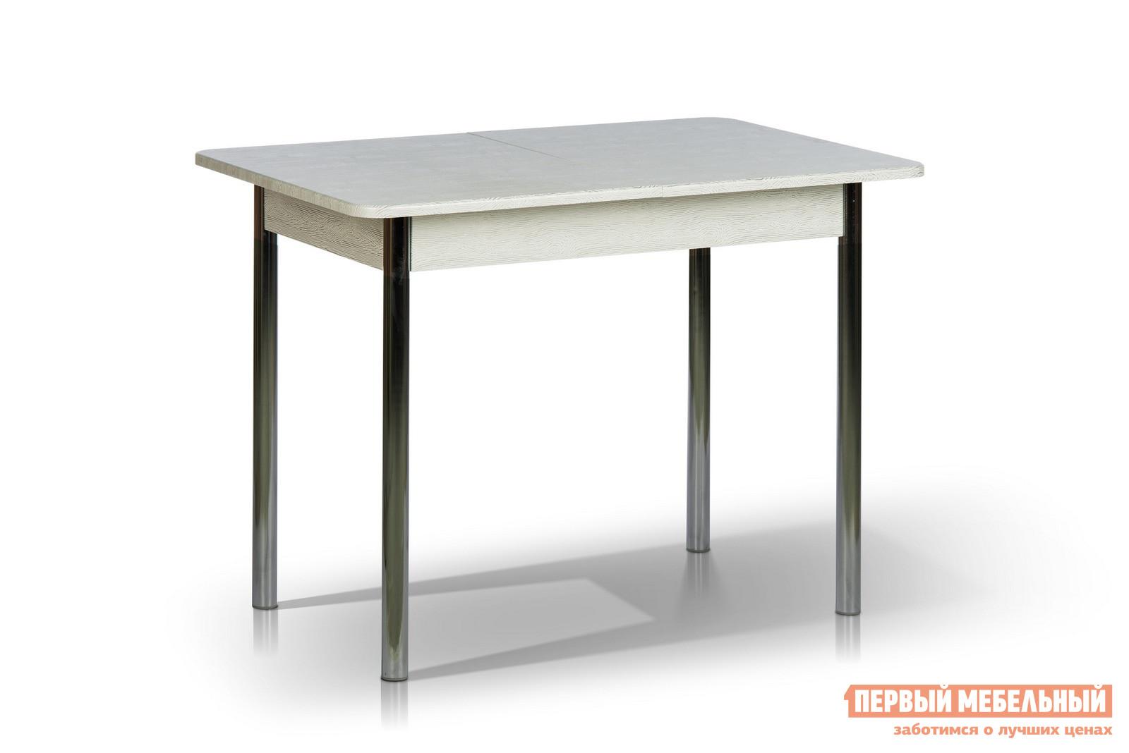 Кухонный стол МегаЭлатон Капри Мини Дуб белый патинаКухонные столы<br>Габаритные размеры ВхШхГ 750x1000 / 1320x650 мм. Обеденный стол с раздвижной столешницей прекрасно подойдет для небольшой кухни.  Простые и строгие формы добавляют столу изящности и позволяют ему вписаться в любой интерьер.  Модель оснащена шариковым механизмом, благодаря которому столешница легко и быстро трансформируется. Размер стола:В собранном виде (ВхШхГ): 750 х 1000 х 650 мм;В разложенном виде (ВхШхГ): 750 х 1320 х 650 мм;Металлические ножки выполнены из хромированной трубы.  Каркас столешницы изготовлен из ЛДСП толщиной 16 мм и МДФ толщиной 18 мм.  Торцевые части облицованы противоударной пленкой ПВХ толщиной 2 мм.<br><br>Цвет: Белый<br>Высота мм: 750<br>Ширина мм: 1000 / 1320<br>Глубина мм: 650<br>Кол-во упаковок: 1<br>Форма поставки: В разобранном виде<br>Срок гарантии: 12 месяцев<br>Тип: Раздвижные<br>Тип: Трансформер<br>Материал: Дерево<br>Материал: ЛДСП<br>Материал: МДФ<br>Форма: Прямоугольные<br>Размер: Маленькие<br>С металлическими ножками: Да