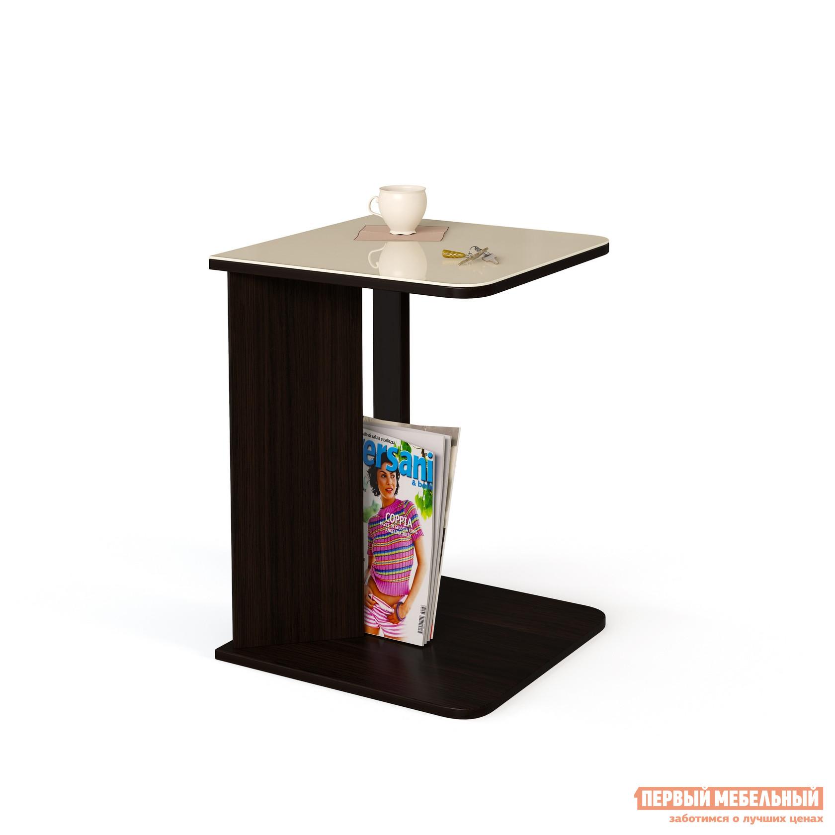 Журнальный столик МегаЭлатон Эдем 01 стол журнальный со стеклом Венге / Бежевое стекло