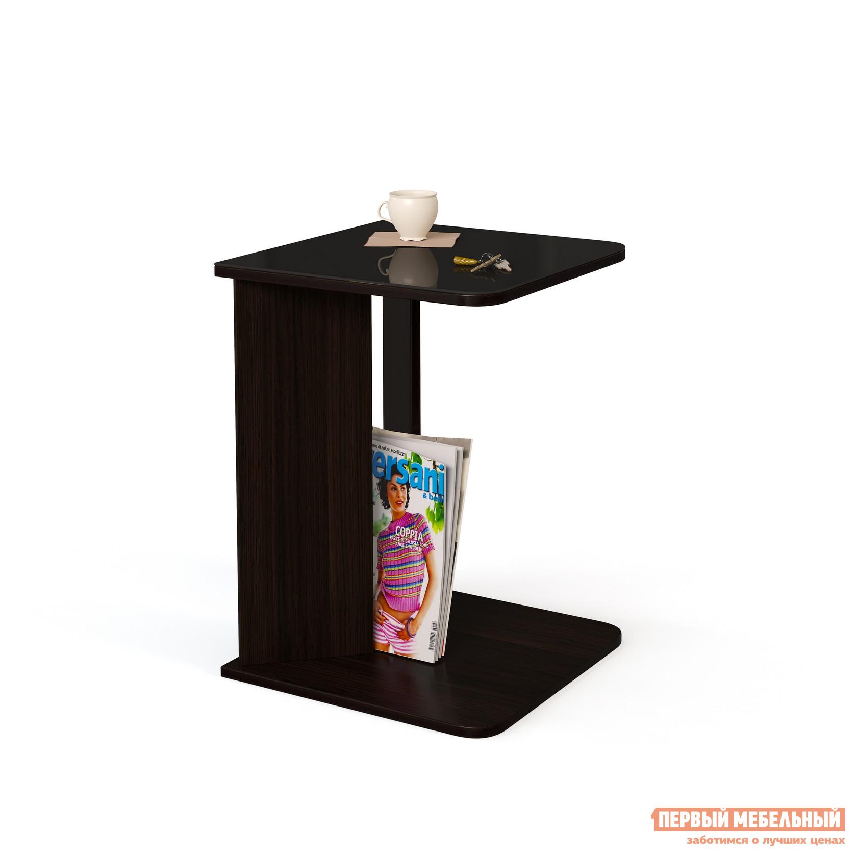 Журнальный столик МегаЭлатон Эдем 01 стол журнальный со стеклом Венге / Черное стекло