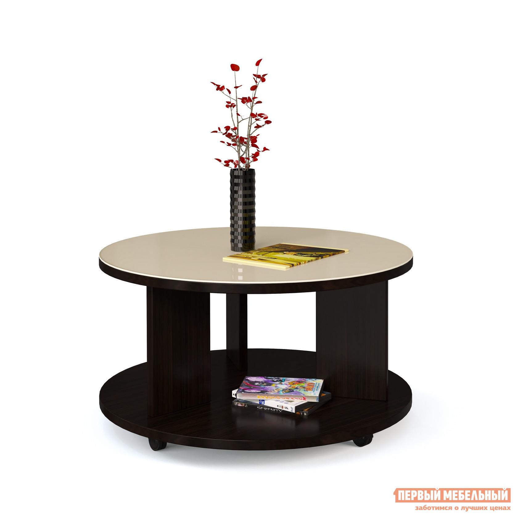Журнальный столик МегаЭлатон Эдем 10 стол журнальный со стеклом Венге / Бежевое стекло