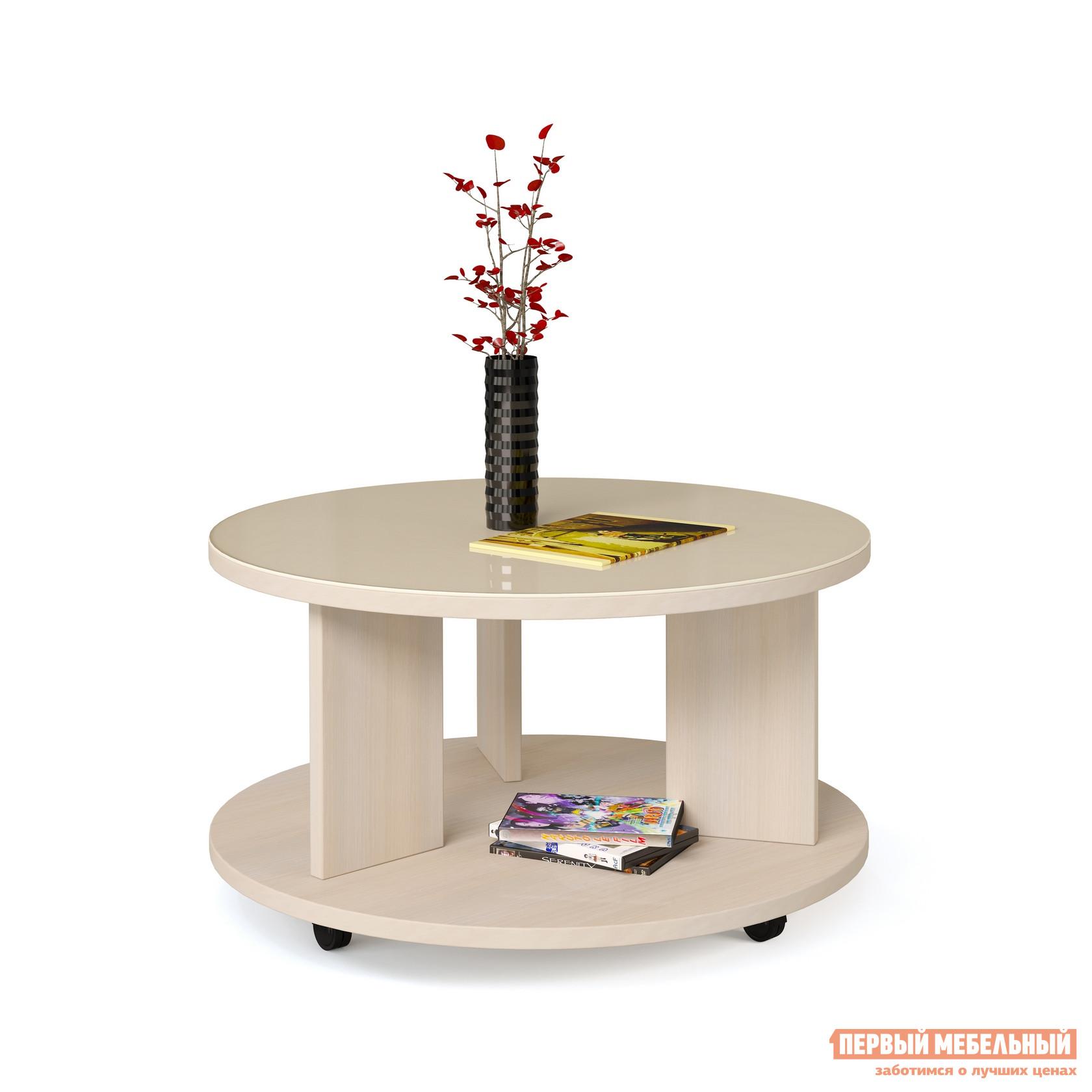 Фото Журнальный столик МегаЭлатон Эдем 10 стол журнальный со стеклом Беленый дуб / Бежевое стекло. Купить с доставкой