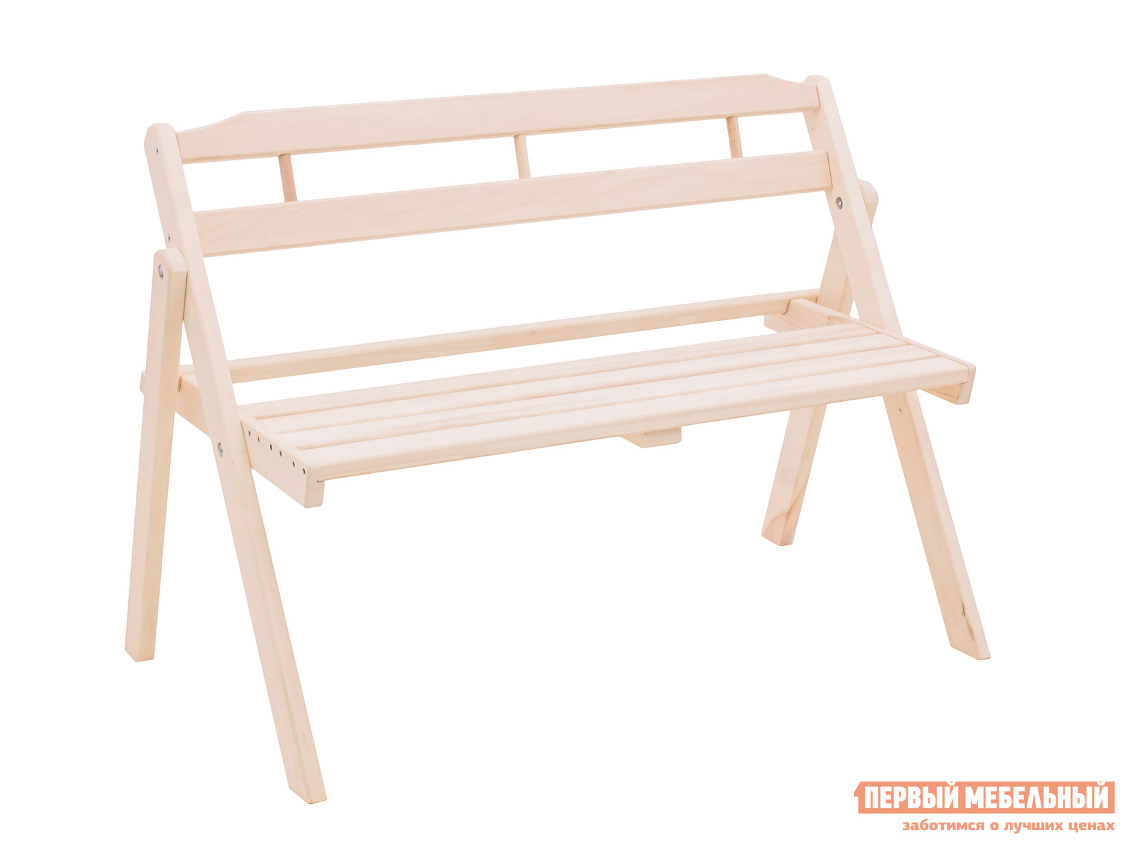 Скамейка для дачи со спинкой из дерева Смолянка Скамья садовая скл. со спинкой 1,1 м осина БМ053Б