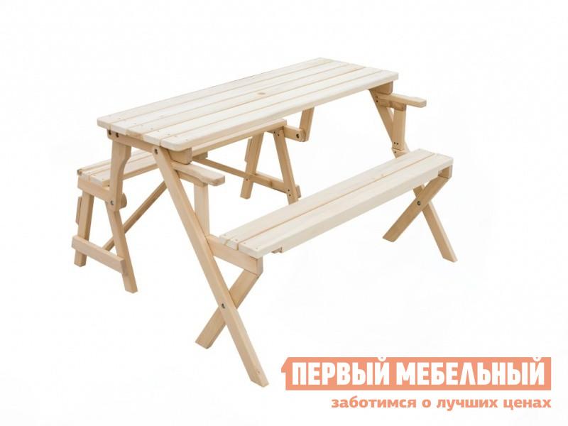 Набор мебели для пикника СМКА СМ038Б БерезаНаборы мебели для пикника<br>Габаритные размеры ВхШхГ 740x1400x1340 мм. Поразительная скамья-трансформер, вмещающая в себе стол и 2 лавки Млада СМ038Б.  Это абсолютно незаменимая вещь на даче или пикнике. Механизм трансформации надежный и крепкий.  Модель и в виде стола и в виде скамейки устойчивая и прочная. Выполнена модель из массива березы, гладко ошкуренного и подготовленного.  Поверхность ничем не покрыта, вы можете на свой вкус покрасить модель в любой цвет или просто покрыть прозрачным лаком для защиты от разбухания. В сложенном виде габариты скамьи-трансформера составляют (ВхШхГ):  750 х 1400 х 600. Создавайте уютное и функциональное пространство вместе с товарами от нашего интернет-магазина.<br><br>Цвет: Светлое дерево<br>Высота мм: 740<br>Ширина мм: 1400<br>Глубина мм: 1340<br>Кол-во упаковок: 1<br>Форма поставки: В собранном виде<br>Срок гарантии: 1 год<br>Тип: Раскладные<br>Тип: Раздвижные<br>Тип: Складные<br>Тип: Трансформер<br>Тип: На 4 персоны<br>Тип: Со спинкой<br>Тип: С обеденным столом<br>Тип: С лавками<br>Тип: Обеденные<br>Назначение: Для дачи<br>Назначение: Для бани<br>Назначение: Для дома<br>Назначение: Для сада<br>Материал: Массив дерева<br>Порода дерева: Береза<br>Форма: Прямоугольные<br>Размер: Большие<br>Размер: Широкие<br>Вместимость: На 4 персоны<br>С подлокотниками: Да<br>Стиль: Прованс