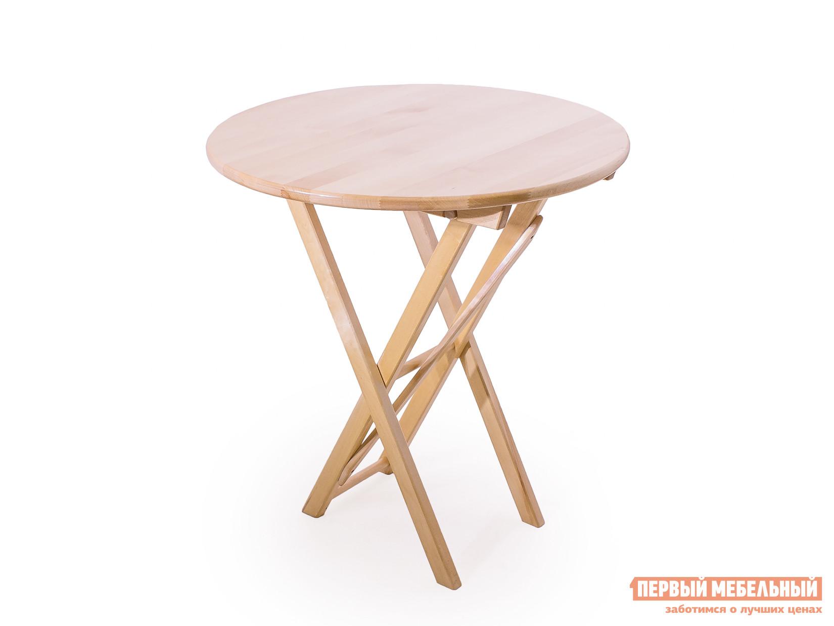 Садовый стол СМКА СМ012Б, СМ013Б Береза, 700 ммСадовые столы<br>Габаритные размеры ВхШхГ 750x700 / 800x700 / 800 мм. Садовый стол Любава-750 (СМ012Б, СМ013Б) с круглой столешницей имеет складную конструкцию.  Он полностью изготовлен из массива березы.  Поверхность покрыта слоем атмосферостойкого лака, который убережет древесину от разбухания и повреждений. При заказе стола вам необходимо будет выбрать диаметр столешницы. Он представлен двумя вариантами:700 мм;800 мм. В сложенном виде малый вариант имеет габариты 1010х80х700 мм, а большой — 1100х80х800 мм. Создать уютный уголок для ланча или чаепития можно приобретя такой стол и пару стульев в нашем интернет-магазине.<br><br>Цвет: Светлое дерево<br>Высота мм: 750<br>Ширина мм: 700 / 800<br>Глубина мм: 700 / 800<br>Кол-во упаковок: 1<br>Форма поставки: В собранном виде<br>Срок гарантии: 1 год<br>Тип: Раскладные<br>Тип: Трансформер<br>Тип: Обеденные<br>Материал: Массив дерева<br>Порода дерева: Береза<br>Форма: Круглые<br>Размер: Маленькие