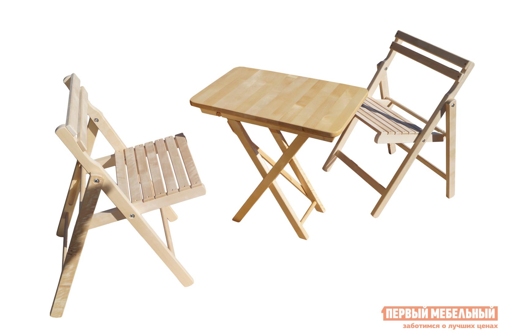 Комплект садовой мебели СМКА СМ011Б + СМ046Б БерезаКомплекты садовой мебели<br>Габаритные размеры ВхШхГ xx мм. Что может быть лучше отдыха на свежем воздухе? Конечно же комфортный отдых.  Комплект садовой мебели «Ударник-2» — лучшее решение для летних бесед тет-а-тет в саду.  Благодаря тому, что все элементы набора складываются и имеют очень скромные размеры, комплект удобно хранить в зимнее время или возить с собой в путешествия на автомобиле. В разложенном виде стол имеет размеры (ВхШхГ): 750 х 600 х 450 мм, что предоставляет место не только для чаепития, но и для приема пищи в обеденное время. Все элементы изготовлены из красивого, светлого дерева — березы.  Стол обработан специальным лаком, который предохраняет поверхность дерева от повреждений, а стулья можно самостоятельно покрыть любым цветом или лаком.<br><br>Цвет: Светлое дерево<br>Кол-во упаковок: 3<br>Форма поставки: В собранном виде<br>Срок гарантии: 1 год<br>Тип: С обеденным столом<br>Тип: Со стульями<br>Материал: Массив дерева<br>Порода дерева: Береза<br>Вместимость: На 2 персоны