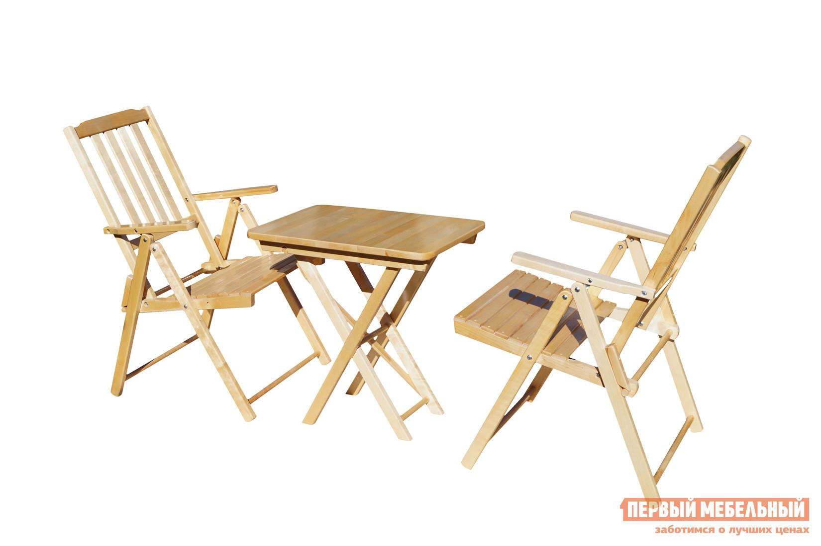 Комплект садовой мебели СМКА СМ011Б + СМ047Б БерезаКомплекты садовой мебели<br>Габаритные размеры ВхШхГ xx мм. Отдых на даче станет еще радостнее с комплектом складной мебели «Комилани-1».  В гарнитур включено три элемента, которые поставляются  в собранном виде.  А это значит, что сразу после доставки вы можете присесть на кресло и насладиться приемом пищи в компании с близким человеком.  В комплекте два кресла с подлокотниками и удобный стол (ВхШхГ): 750 х 600 х 450 мм. Мебель изготавливается из прочного и красивого материала — массива березы, и покрывается лаком для защиты от атмосферных воздействий. В сложенном виде комплект занимает совсем немного места, что позволяет легко его транспортировать или хранить в шкафу.<br><br>Цвет: Светлое дерево<br>Кол-во упаковок: 3<br>Форма поставки: В собранном виде<br>Срок гарантии: 1 год<br>Тип: С обеденным столом<br>Тип: Со стульями<br>Материал: Массив дерева<br>Порода дерева: Береза<br>Вместимость: На 2 персоны<br>С подлокотниками: Да