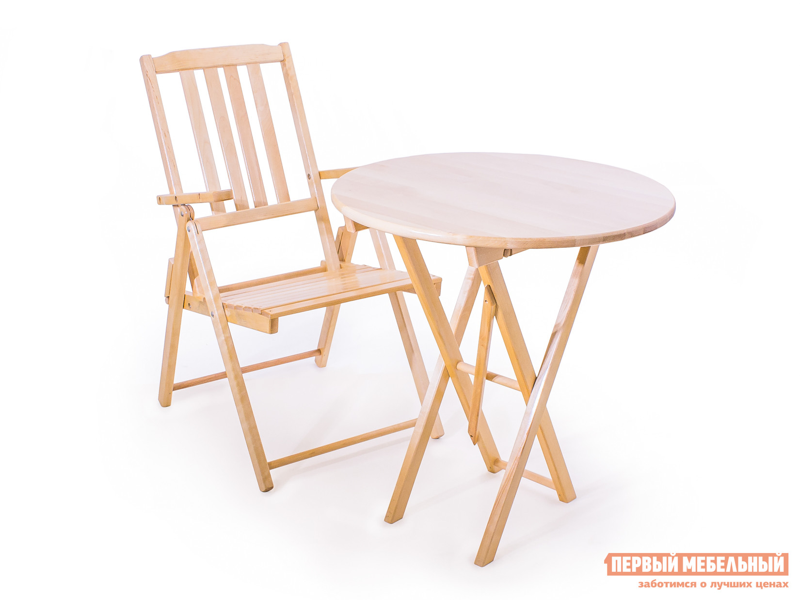 Комплект садовой мебели СМКА Комфорт СМ047Б+СМ012Б БерезаКомплекты садовой мебели<br>Габаритные размеры ВхШхГ xx мм. Комил Любава — комплект садовой мебели, состоящий из стола и одного стула.  В качестве материала изделий использована натуральная береза с влагостойким покрытием.  Благодаря такой обработке деревянной поверхности, элементы интерьера надолго сохраняют первоначальный внешний вид, не подвергаются разбуханию, повреждениям и развитию опасных бактерий, включая плесень. Размер стола в сложенном виде — 1010х80х700 мм. Диаметр столешницы — 700 мм. Параметры стула в сложенном виде — 910х530х210 мм.<br><br>Цвет: Светлое дерево<br>Кол-во упаковок: 2<br>Форма поставки: В собранном виде<br>Срок гарантии: 1 год<br>Тип: Складные<br>Тип: С обеденным столом<br>Тип: Со стульями<br>Материал: Массив дерева<br>Порода дерева: Береза<br>С подлокотниками: Да