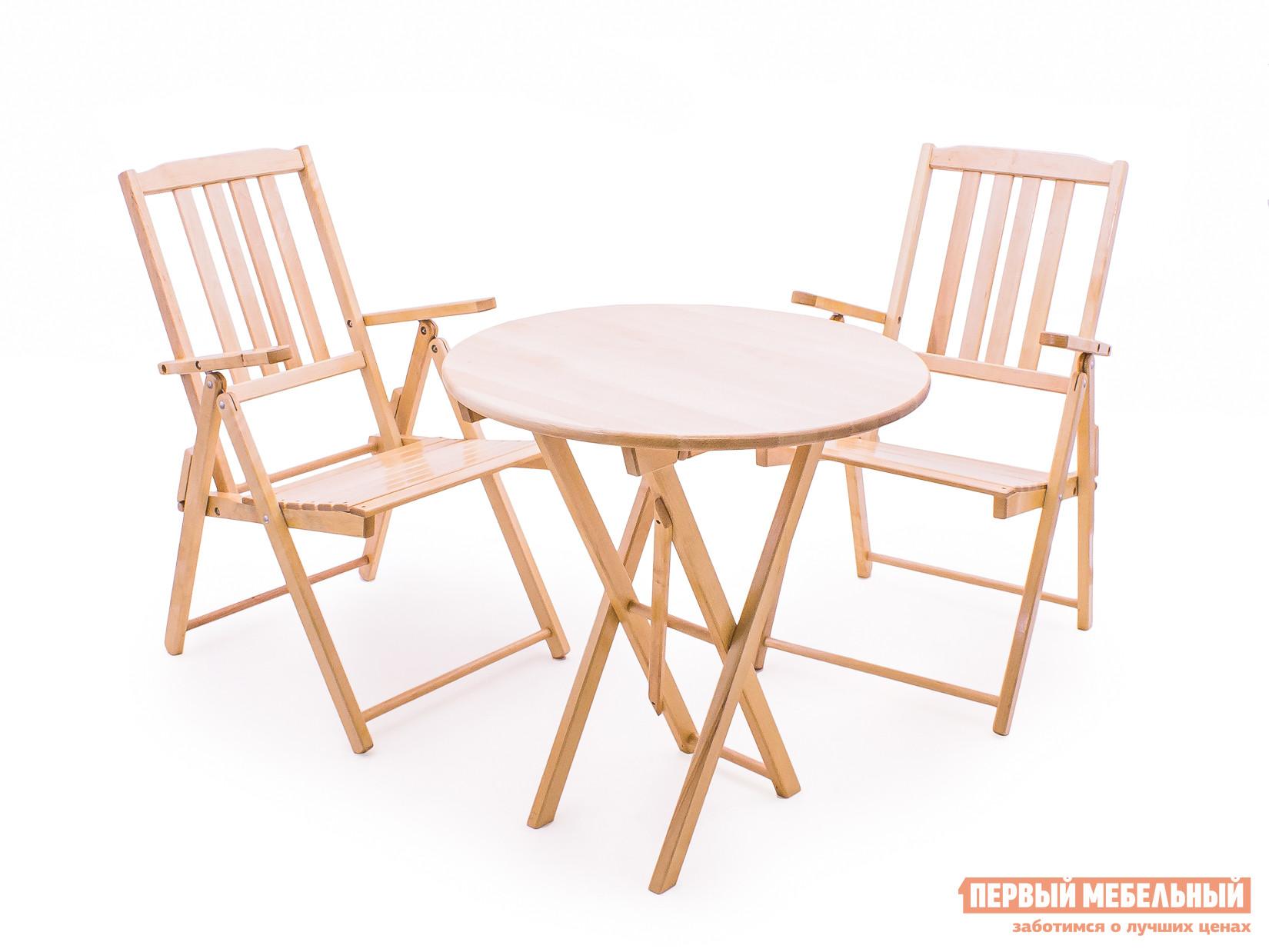 Комплект садовой мебели СМКА СМ012Б + СМ047Б БерезаКомплекты садовой мебели<br>Габаритные размеры ВхШхГ xx мм. Лаконичность и комфорт, практичность и компактность — все это про комплект садовой мебели из натурального дерева «Комилани-2».  Изящность массива березы подчеркнута атмосферостойким лаком, который предохраняет древесину от воздействия влаги и придает приятный блеск поверхности. Комплект состоит из трех изделий, которые поставляются в собранном виде.  Чтобы начать использование, их нужно просто разложить и поставить в отведенное место.  В сложенном же виде гарнитур не займет много места и поместится в легковом автомобиле.   В сложенном виде кресло имеет размеры (ВхШхГ): 210 х 530 х 910 мм, а стол (ВхШхГ): 80 х 1010 х 700 мм.<br><br>Цвет: Светлое дерево<br>Кол-во упаковок: 3<br>Форма поставки: В собранном виде<br>Срок гарантии: 1 год<br>Тип: С обеденным столом<br>Тип: Со стульями<br>Материал: Массив дерева<br>Порода дерева: Береза<br>Вместимость: На 2 персоны<br>С подлокотниками: Да