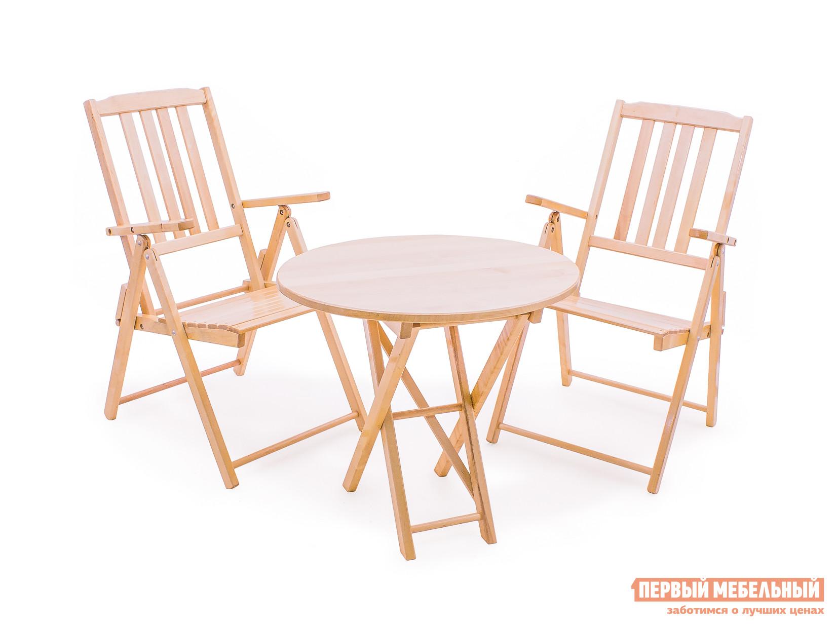 Комплект садовой мебели СМКА Комфорт СМ047Б, 2 шт+СМ049Б Береза, 650 ммКомплекты садовой мебели<br>Габаритные размеры ВхШхГ xx мм. В комплект складной мебели для сада Комил Мирослав входят два стула и стол.  Изделия произведены из массива натуральной березы.  Благодаря тому, что поверхность дерева покрыта специальным влагостойким лаком, комплект можно использовать под открытым небом.  А также быть уверенным, что данная мебель не будет подвержена развитию опасных грибковых бактерий и плесени.  Для создания повышенной комфортабельности, стулья оборудованы удобными подлокотниками.  Размер столешницы — 720 х 520 мм. Высота стола — 750 мм. Размер стула в сложенном состоянии(ВхШхГ) — 910 х 530 х 210 мм.<br><br>Цвет: Светлое дерево<br>Кол-во упаковок: 3<br>Форма поставки: В собранном виде<br>Срок гарантии: 1 год<br>Тип: Складные<br>Тип: С обеденным столом<br>Тип: Со стульями<br>Материал: Массив дерева<br>Порода дерева: Береза<br>Вместимость: На 2 персоны<br>С подлокотниками: Да