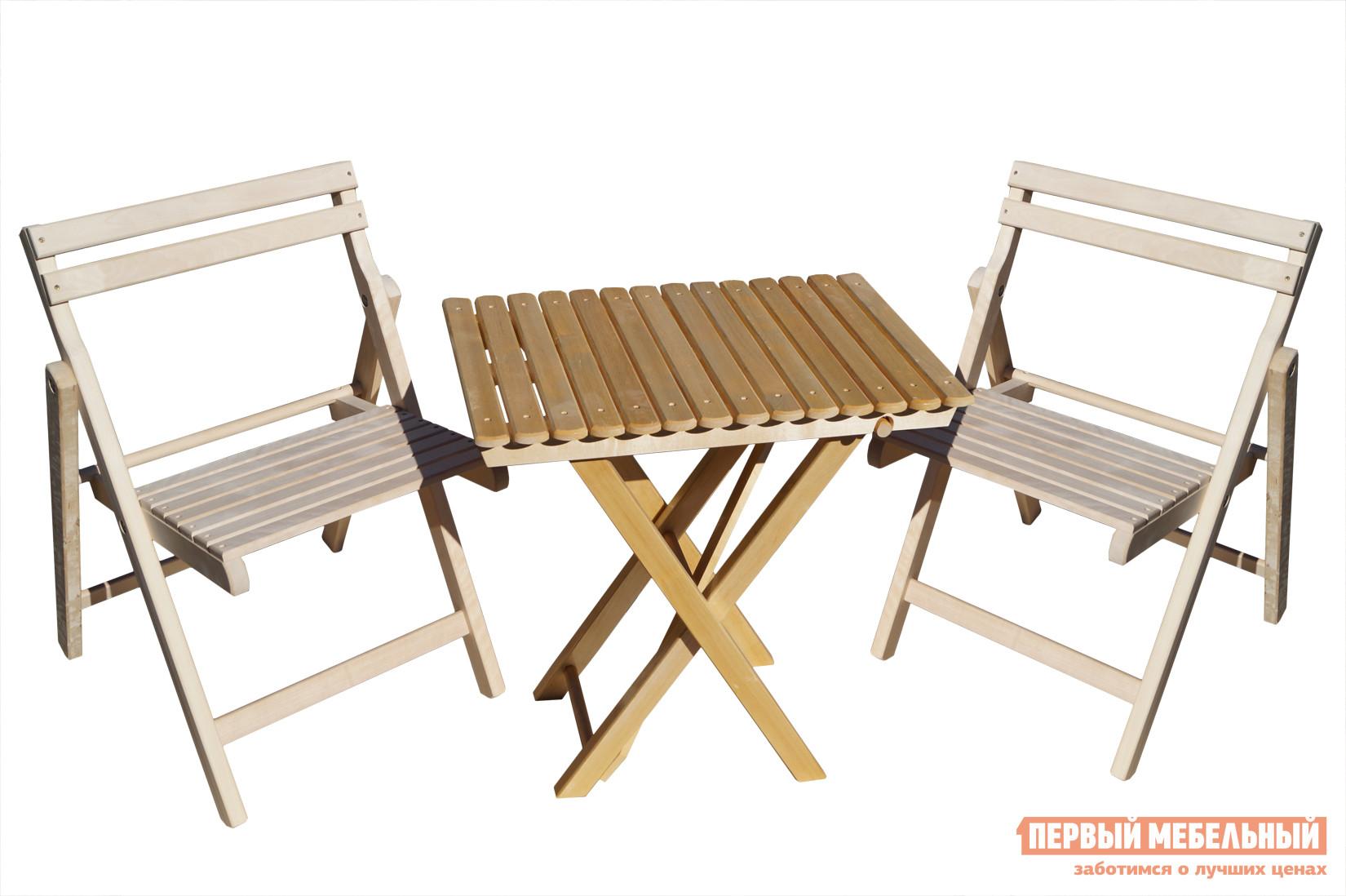 Комплект садовой мебели СМКА СМ008Б + СМ046Б БерезаКомплекты садовой мебели<br>Габаритные размеры ВхШхГ xx мм. Если вы давно искали простой и мобильный набор для отдыха на природе, то комплект складной садовой мебели «Ударник-1» — то, что вам нужно.  Изделия изготавливаются из массива крепкого и пластичного дерева — березы.  Стол дополнительно покрывается лаком, чтобы ни дождь, ни солнце, ни пролитые напитки не смогли испортить поверхность.  А стулья предоставляют свободу вашей фантазии, ведь благодаря тому, что они ничем не покрыты, их можно покрасить в любой цвет или покрыть масляной пропиткой, которая раскроет всю красоту натурального дерева.  Стол в разложенном виде имеет размеры (ВхШхГ): 650 х 600 х 450, а в сложенном 800 х 600 х 60 мм.  Стулья в сложенном виде имеют размер (ВхШхГ): 850 х 500 х 80 мм.  Такая компактность позволяет хранить и транспортировать набор «Ударник-1» без хлопот.<br><br>Цвет: Светлое дерево<br>Кол-во упаковок: 3<br>Форма поставки: В собранном виде<br>Срок гарантии: 1 год<br>Тип: Со стульями<br>Материал: Массив дерева<br>Вместимость: На 2 персоны<br>С подлокотниками: Да