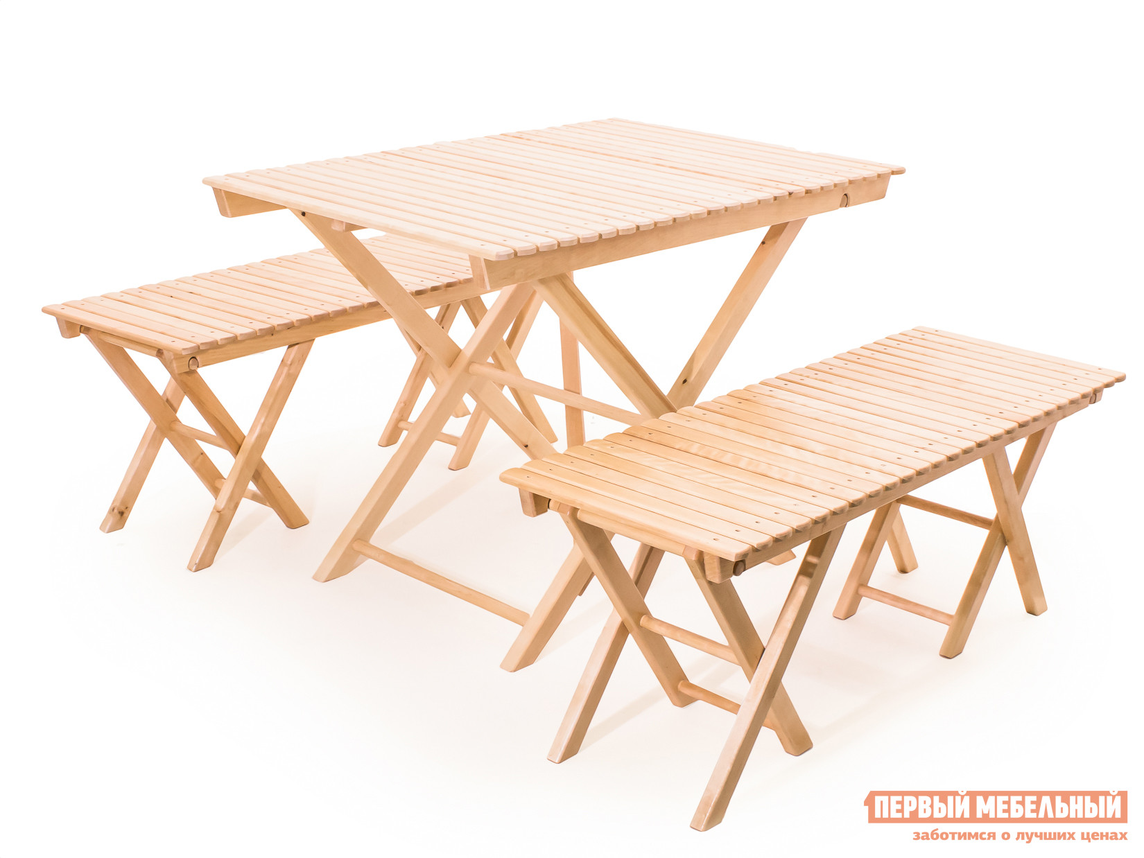 Комплект садовой мебели СМКА СМ004Б+СМ026Б 2 шт БерезаКомплекты садовой мебели<br>Габаритные размеры ВхШхГ xx мм. Любите отдых с семьей в саду и веселые пикники с друзьями? Комплект складной мебели Комирис организует для вас уютное пространство в парке или на даче. Комплект состоит из двух реечных лавок и стола.  Размеры каждой лавки составляют (ВхШхГ): 450 х 1150 х 450 мм, а стола (ВхШхГ): 750 х 1030 х 670 мм.  Набор разместит с комфортом четыре взрослых человека или шестеро детей.  Изделия изготовлены из массива березы и покрыты специальным лаком-грунтовкой, который предохраняет поверхность от воздействия влаги и солнечного излучения.<br><br>Цвет: Светлое дерево<br>Кол-во упаковок: 3<br>Форма поставки: В собранном виде<br>Срок гарантии: 1 год<br>Тип: С обеденным столом<br>Тип: С лавками<br>Материал: Массив дерева<br>Порода дерева: Береза<br>Вместимость: На 4 персоны