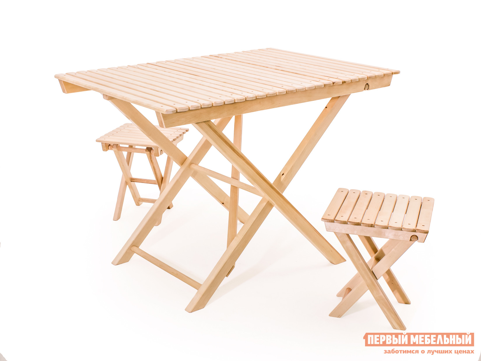 Комплект садовой мебели СМКА СМ004Б+СМ018Б 2 шт БерезаКомплекты садовой мебели<br>Габаритные размеры ВхШхГ xx мм. Комплект садовой мебели Альпарис — это комфорт, компактность и долговечность.  Если у вас ограниченное пространство или вы хотите приобрести максимально мобильный набор мебели, то это — идеальное решение. Гарнитур состоит из трех предметов мебели, которые поставляются в собранном виде, что позволяет начать их эксплуатацию сразу после доставки. Стол имеет следующие габаритные размеры (ВхШхГ): 750 х 1030 х 670 мм, а каждый табурет (ВхШхГ): 380 х 380 х 380 мм.  Мебель изготавливается из массива березы и покрывается специальным лаком-грунтовкой.  Такое покрытие защищает изделия от воздействий окружающей среды и загрязнений.<br><br>Цвет: Светлое дерево<br>Кол-во упаковок: 3<br>Форма поставки: В собранном виде<br>Срок гарантии: 1 год<br>Тип: С обеденным столом<br>Материал: Массив дерева<br>Порода дерева: Береза<br>Вместимость: На 2 персоны