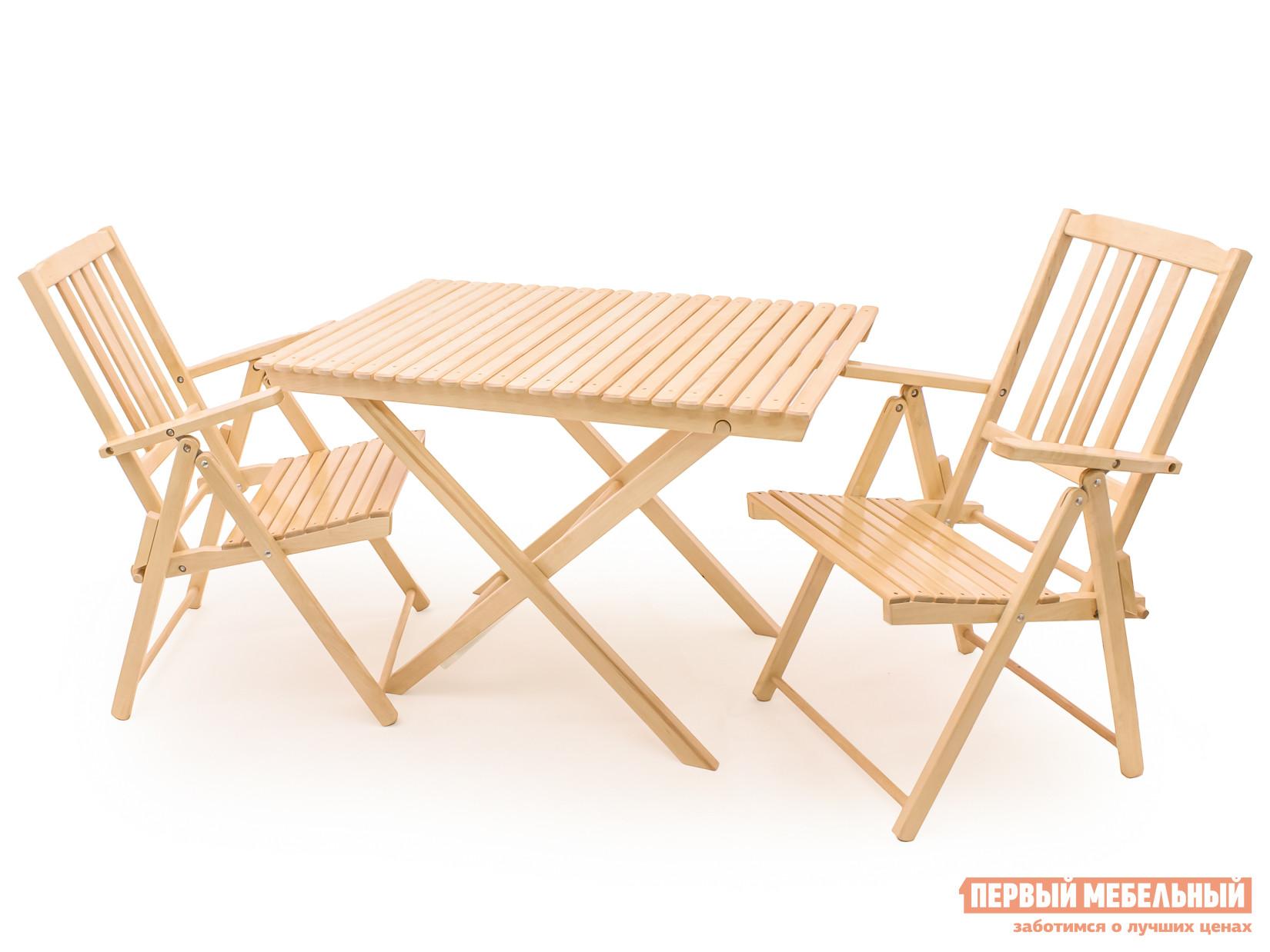 Комплект садовой мебели СМКА СМ004Б+СМ047Б 2 шт БерезаКомплекты садовой мебели<br>Габаритные размеры ВхШхГ xx мм. Комплект садовой мебели Комилис, — это отличный вариант для организации стильного и удобного пространства для бесед тет-а-тет на свежем воздухе. В комплекте представлены два складных кресла с подлокотниками и высокой спинкой, а также складной стол (ВхШхГ): 750 х 1030 х 670 мм.  Мебель изготавливается из массива березы и покрывается специальным лаком-грунтовкой, который предохраняет поверхность от агрессивного воздействия окружающей среды. Когда изделия не используются, их можно хранить в чулане. Благодаря тому, что все изделия поставляются в полностью собранном виде, после доставки можно сразу начать использование комплекта по назначению.<br><br>Цвет: Светлое дерево<br>Кол-во упаковок: 3<br>Форма поставки: В собранном виде<br>Срок гарантии: 1 год<br>Тип: С обеденным столом<br>Тип: Со стульями<br>Материал: Массив дерева<br>Порода дерева: Береза<br>Вместимость: На 2 персоны<br>С подлокотниками: Да