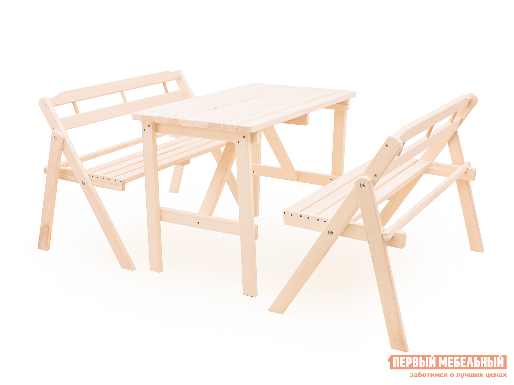 Комплект садовой мебели СМКА Веранда БМ053 ОсинаКомплекты садовой мебели<br>Габаритные размеры ВхШхГ xx мм. Классический представитель своего вида — комплект садовой мебели Веранда-053 — отличное решение для организации комфортного места для отдыха как на свежем воздухе, так и в помещении. В гарнитуре представлено три предмета.  Это стол (ВхШхГ): 750 х 1000 х 600 мм и две складные скамьи (ВхШхГ): 770 х 110 х 480 мм. Скамьи в сложенном виде удобно хранить и транспортировать. Все модели изготавливаются из натурального дерева — осины.  Поверхность не обрабатывается лаком, чтобы вы могли покрасить мебель в подходящий вам цвет или оставить дерево благоухать натуральностью.<br><br>Цвет: Светлое дерево<br>Кол-во упаковок: 3<br>Форма поставки: В разобранном виде<br>Срок гарантии: 1 год<br>Тип: С обеденным столом<br>Тип: С лавками<br>Материал: Массив дерева<br>Порода дерева: Осина<br>Вместимость: На 4 персоны
