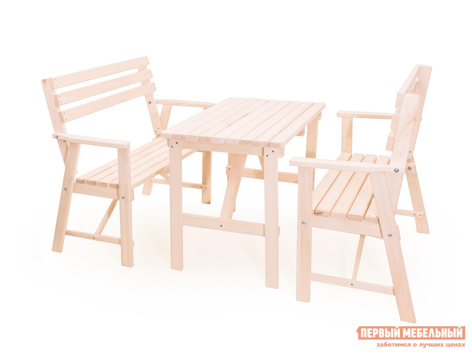 Комплект садовой мебели СМКА Веранда-2 ОсинаКомплекты садовой мебели<br>Габаритные размеры ВхШхГ xx мм. Что нужно для уютного отдыха в саду помимо вкусной еды? Конечно же красивая и удобная мебель.  Комплект садовой мебели Веранда-2 — отличное решения как для сада, так и для террасы.  Изделия в этом наборе изготавливаются из красивого светлого дерева — осины, и не обрабатываются лаком.  Это позволяет вам покрасить их в любой желаемый цвет и насладиться запахом свежего дерева. Комплект состоит из трех предметов, которые поставляются в разобранном виде. Стол имеет размеры (ВхШхГ): 750 х 1000 х 600 мм;Две скамьи с габаритными размерами (ВхШхГ): 1050 х 1050 х 500 мм. Такой набор организует уютное место для отдыха четырех взрослых или шестерых детей.<br><br>Цвет: Светлое дерево<br>Кол-во упаковок: 3<br>Форма поставки: В разобранном виде<br>Срок гарантии: 1 год<br>Тип: С обеденным столом<br>Тип: С лавками<br>Материал: Массив дерева<br>Порода дерева: Осина<br>Вместимость: На 4 персоны<br>С подлокотниками: Да