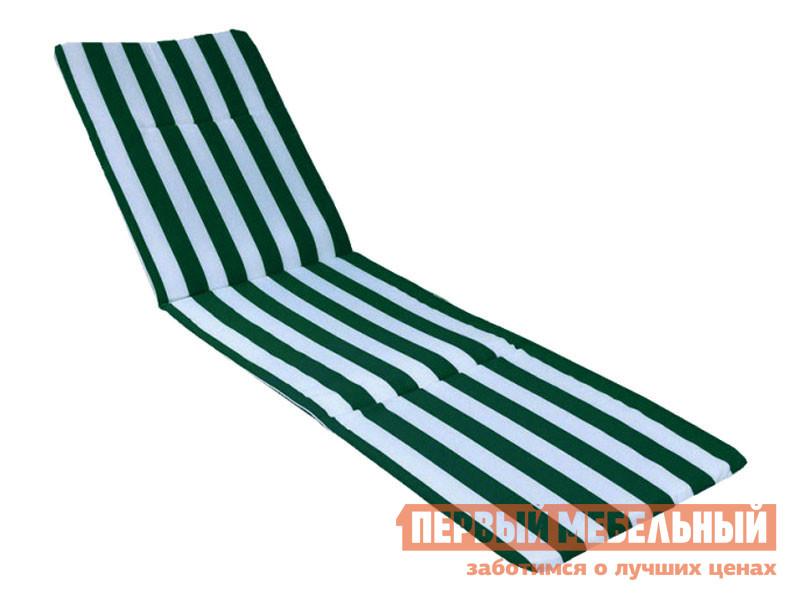 Матрас для шезлонга  МЭШ268 Мягкий элемент к лежаку Бело-зеленый, ткань