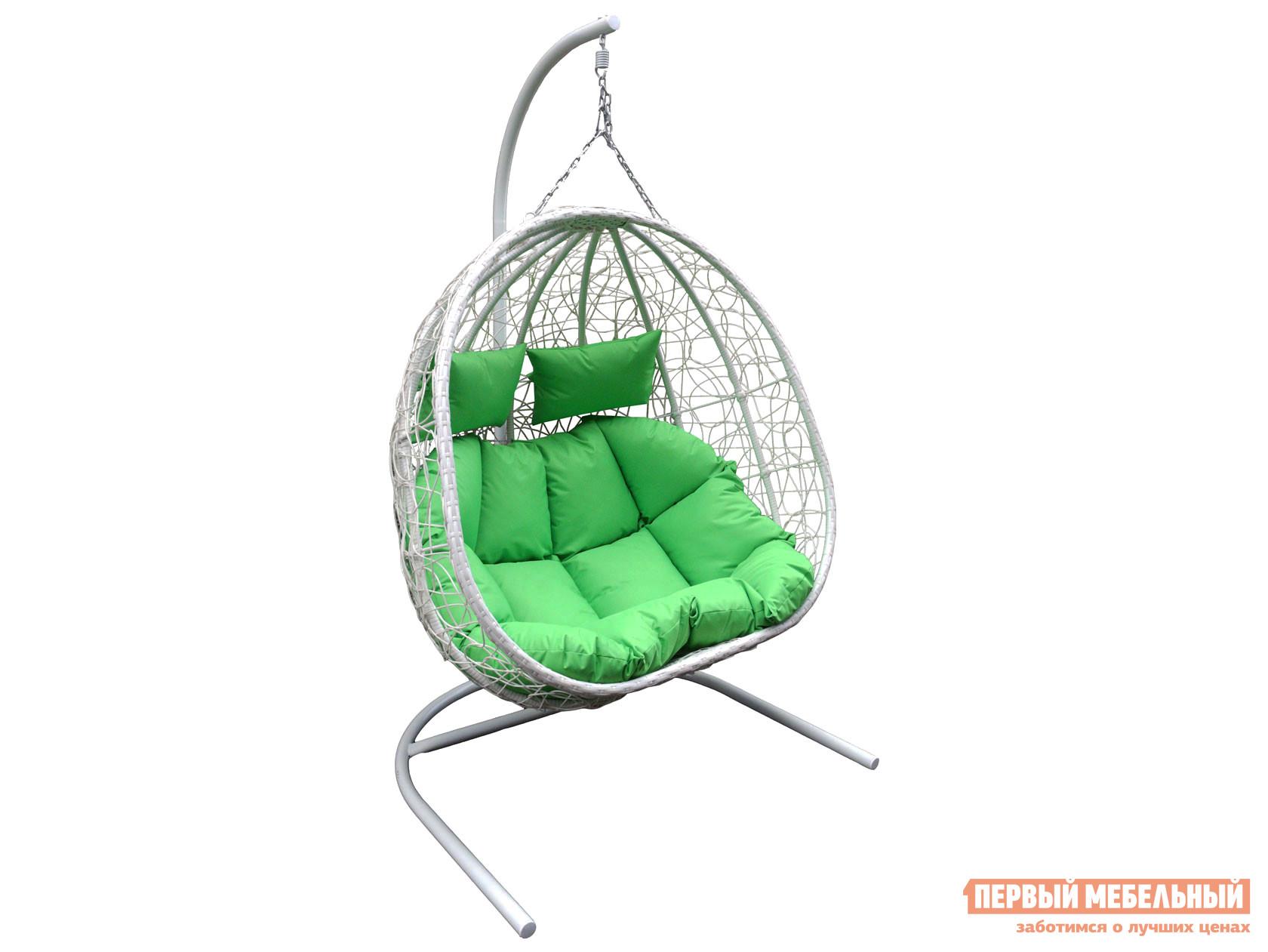 """Подвесное кресло  D40 Подвесное кресло """"Флора"""" двойное Белый, металл / Молочный, ротанг / Салатовый, ткань — D40 Подвесное кресло """"Флора"""" двойное Белый, металл / Молочный, ротанг / Салатовый, ткань"""