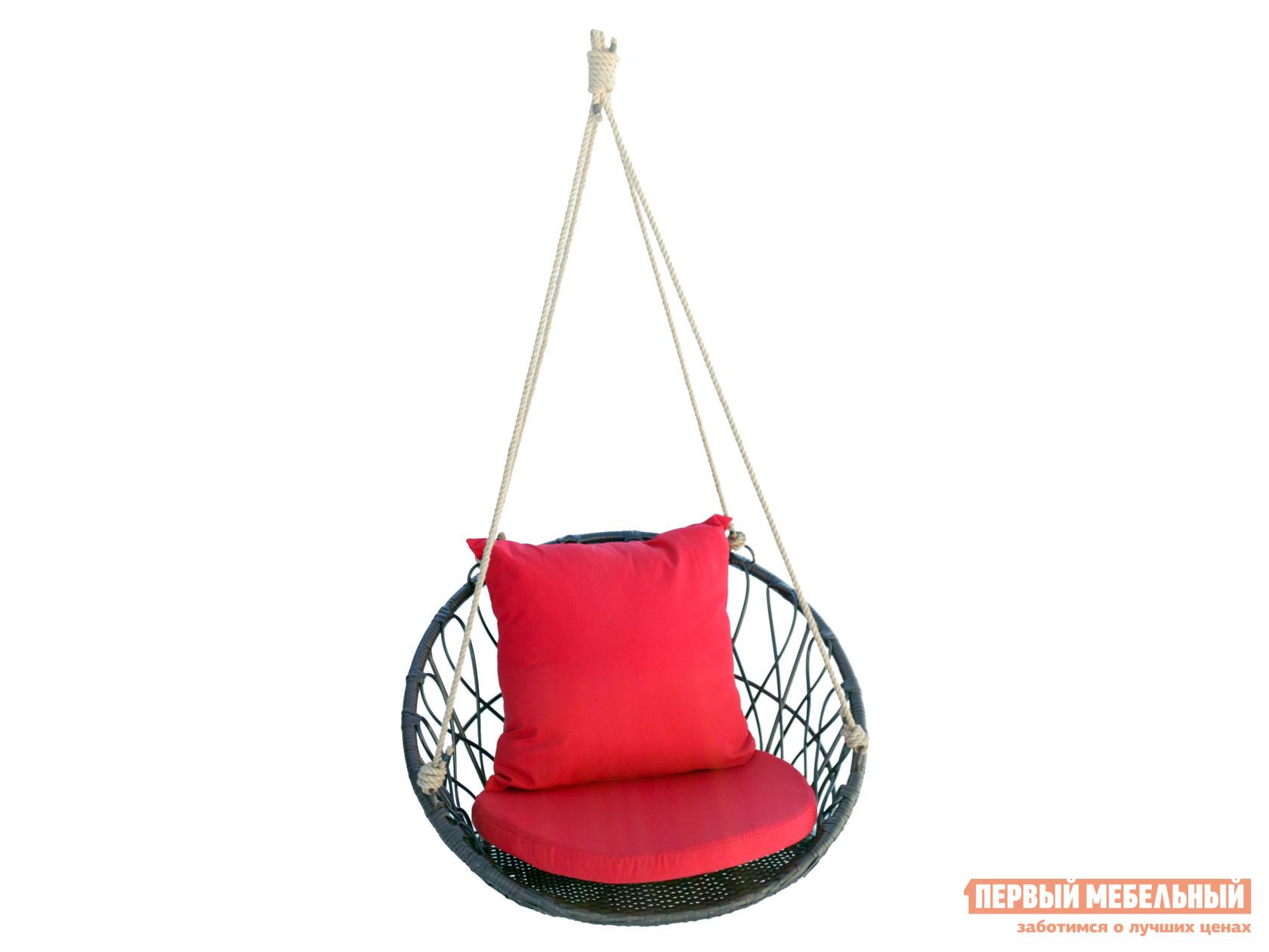 """Подвесное кресло  М455 Подвесное кресло """"Майорка"""" Кофейный, ротанг / Красный, ткань — М455 Подвесное кресло """"Майорка"""" Кофейный, ротанг / Красный, ткань"""