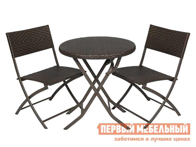Комплект садовой мебели  RM-50 Набор мебели Романтика круглый Черный, металл / Коричневый, ротанг — RM-50 Набор мебели Романтика круглый Черный, металл / Коричневый, ротанг