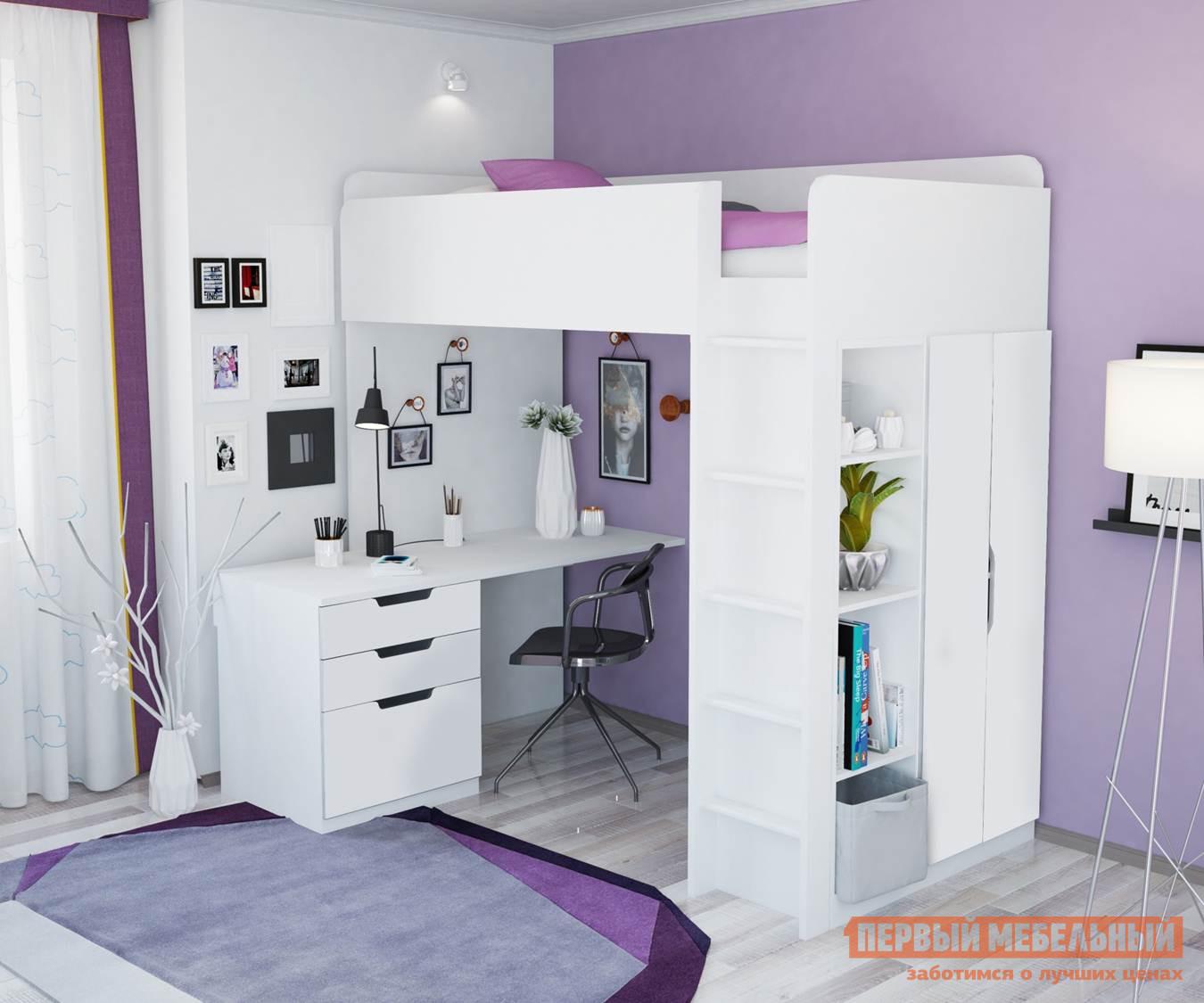 Кровать-чердак ВПК Кровать-чердак Polini kids Simple с письменным столом и шкафом (МДФ)