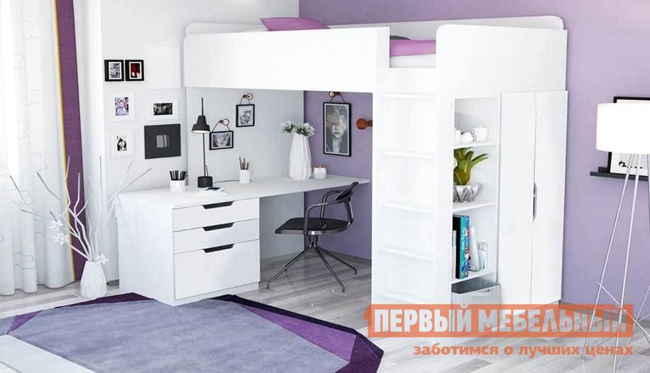 Кровать-чердак ВПК Кровать-чердак Polini kids Simple с письменным столом и шкафом детская кровать чердак с рабочей зоной и шкафом мелания милана 3 дуб