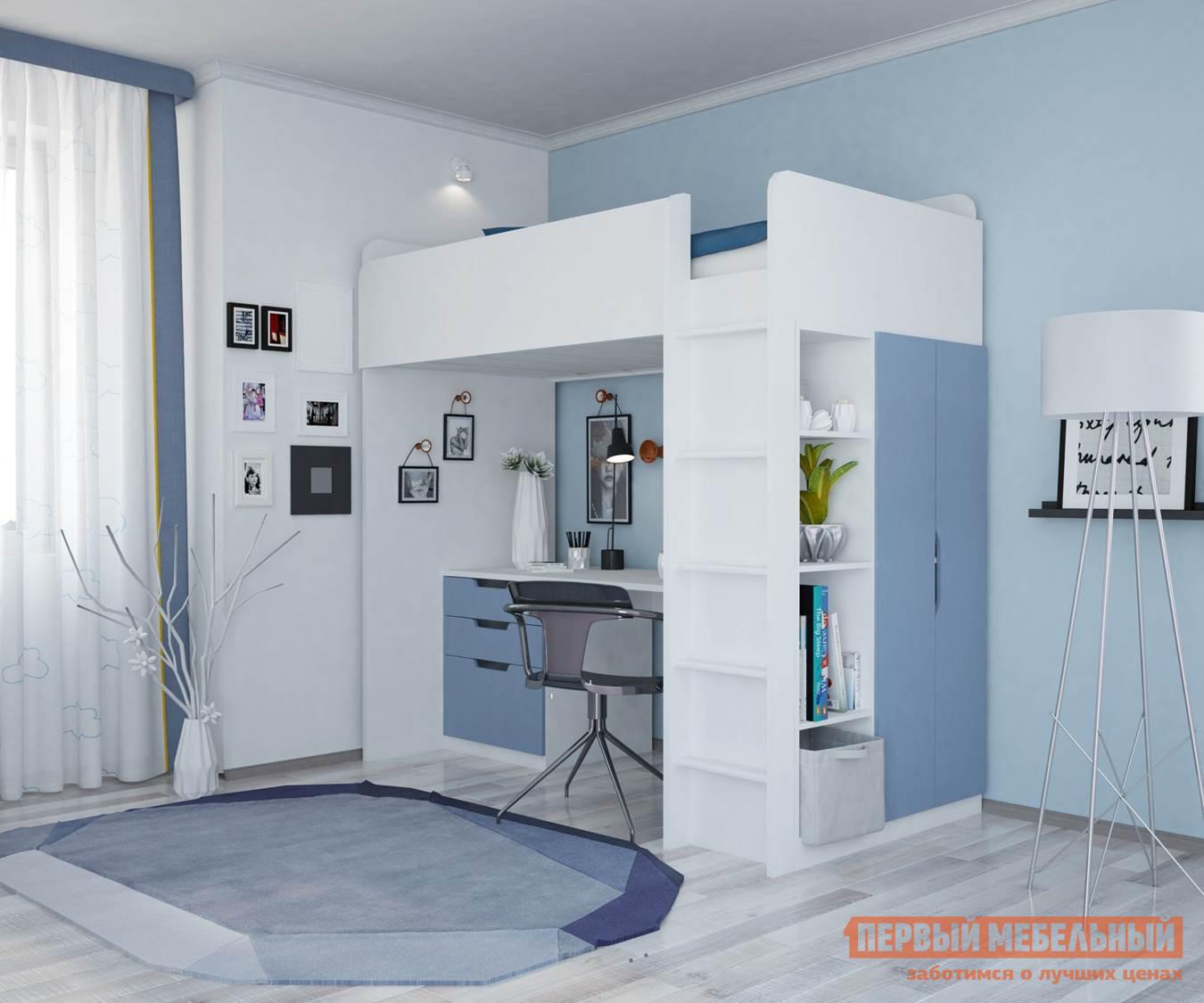 Кровать-чердак  Кровать-чердак Polini kids Simple с письменным столом и шкафом Белый / Синий — Кровать-чердак Polini kids Simple с письменным столом и шкафом Белый / Синий