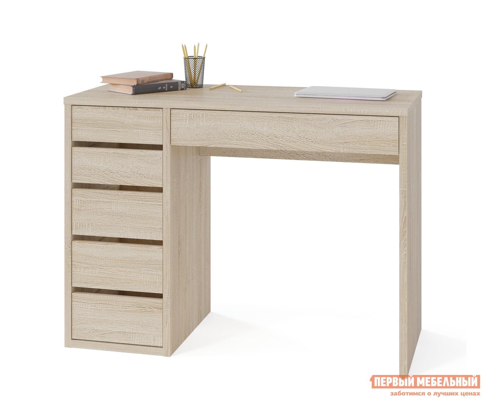 Письменный стол Тайга СПм-10 Дуб Сонома, ПравыйПисьменные столы<br>Габаритные размеры ВхШхГ 769x1050x446 мм. Небольшой письменный стол в модном белом цвете или в классическом темном исполнении.  Модель стильно разнообразит любой интерьер и поможет организовать удобную рабочую зону как в квартире, так и в офисе. При своей лаконичности и компактных размерах стол функционален и практичен.  На столешнице шириной 1050 мм разместятся и ноутбук, и необходимые в работе материалы.  Под столешницей есть выдвижная ниша для необходимых под рукой мелочей, а также за нишей скрыта полка под пилот, от которой через отверстие в столешнице можно вывести провода к технике.  Кроме того, стол дополнен тумбой с пятью ящиками, верхние два — поменьше, нижние — побольше.  Продуманные зазоры между ящиками позволяют отказаться от привычных ручек и делают стол современным: чтобы открыть ящик нужно все лишь потянуть за фасад.  В ящиках используются шариковые направляющие полного выдвижения, а это значит, что:можно увидеть все содержимое ящика;ящики будут выдвигаться плавно и практически бесшумно;нагрузка на ящик будет распределена равномерно за счет раскатывающихся шариков. Внутренний размер ящиков у тумбы составляет 252 х 346 мм, в них поместятся документы А4, папки и канцелярия.  Внутренний размер ниши под столешницей — 646 х 346 мм. Обратите внимание! Стол может быть правой или левой ориентации: определяется по расположению тумбы.  Для оформления заказа необходимо выбрать нужный вариант. Стол изготавливается из ЛДСП толщиной 22 и 16 мм, края обработаны кромкой ПВХ 2 и 0,4 мм.<br><br>Цвет: Светлое дерево<br>Высота мм: 769<br>Ширина мм: 1050<br>Глубина мм: 446<br>Кол-во упаковок: 1<br>Форма поставки: В разобранном виде<br>Срок гарантии: 2 года<br>Тип: Прямые<br>Материал: Дерево<br>Материал: ЛДСП<br>Размер: Маленькие<br>С ящиками: Да<br>Без надстройки: Да<br>С тумбой: Да<br>Стиль: Современный