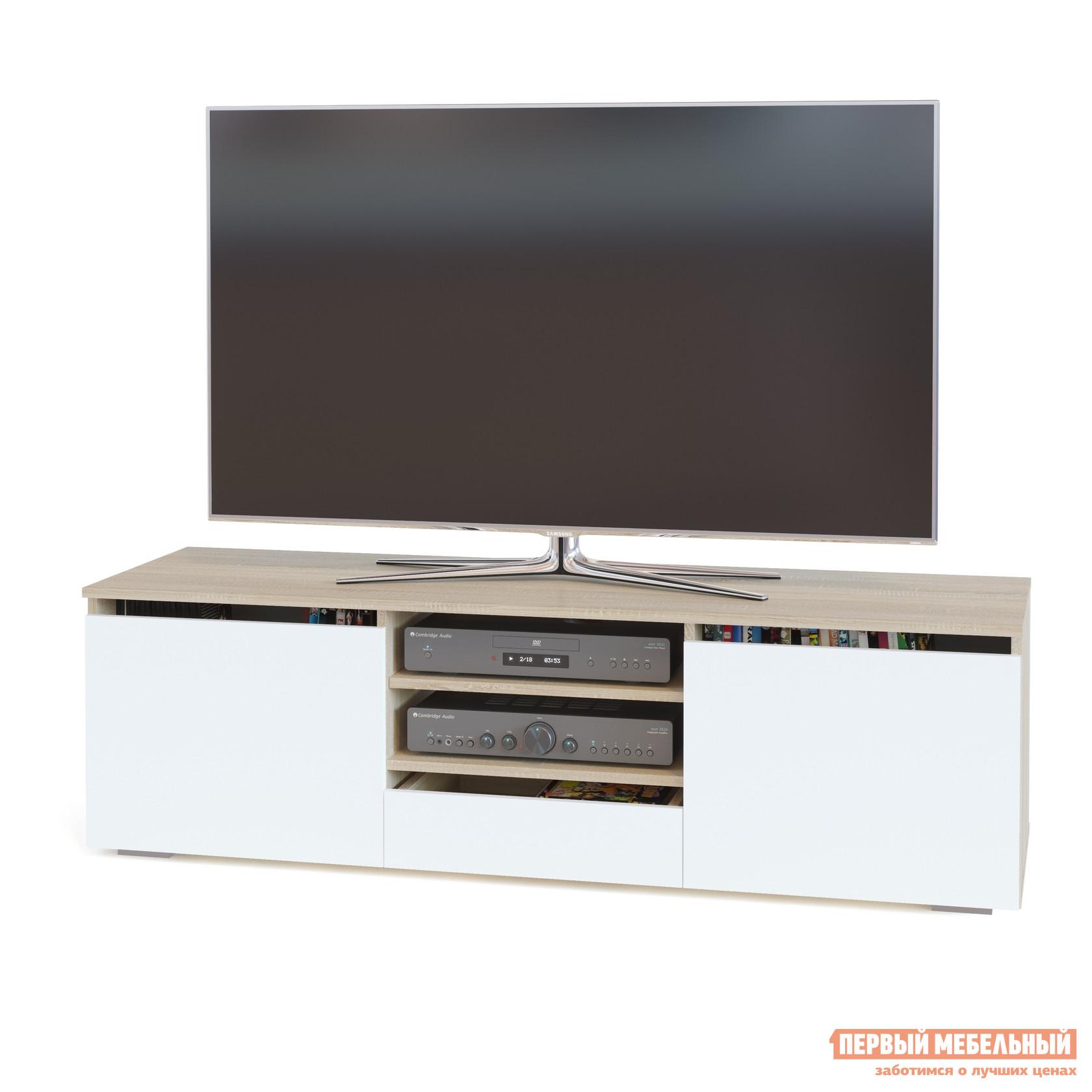 ТВ-тумба Тайга СТМ-300 Корпус Дуб Сонома / Фасад Белый