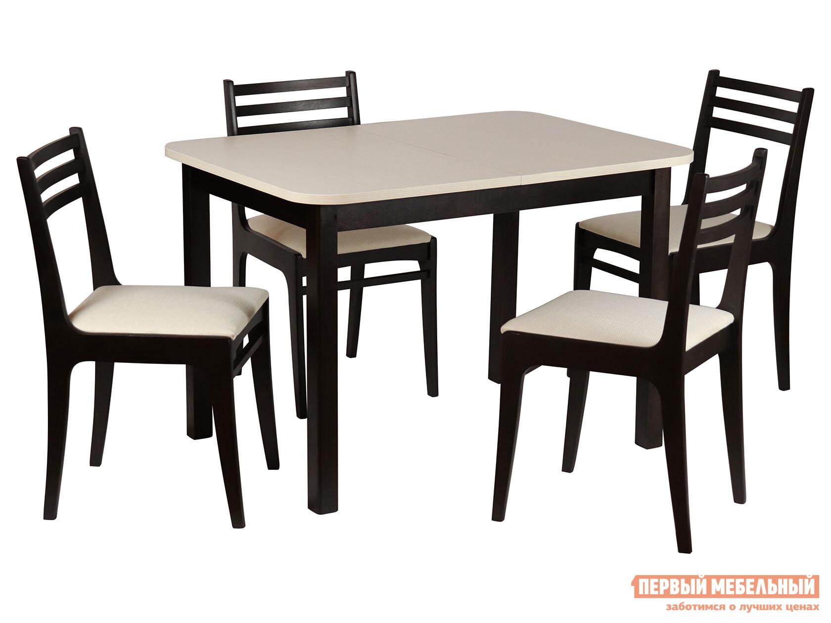 Обеденная группа для столовой и гостиной  Стол Франц СТ03Б1 + 4 стула Грис С8 Венге / Валенсия Аполло беж Mebwill 99069