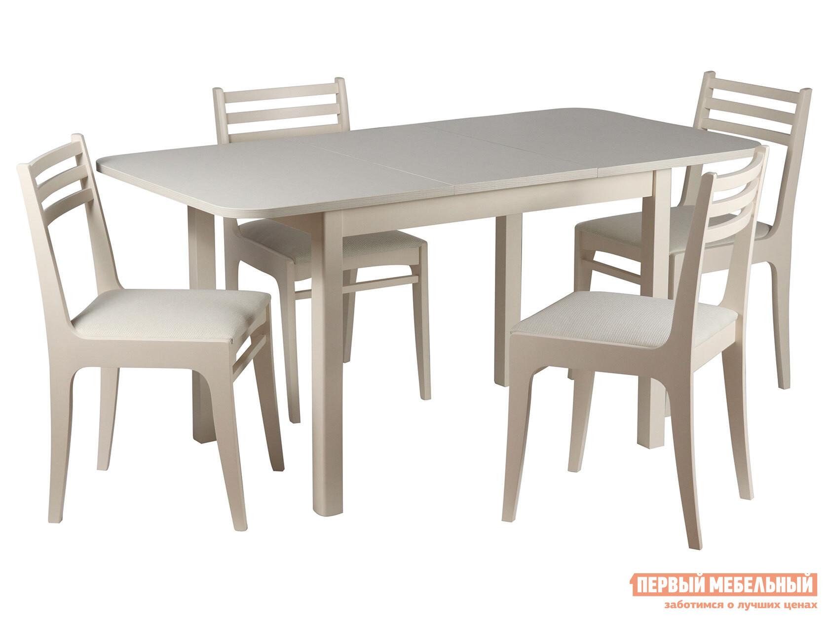 Обеденная группа для столовой и гостиной  Стол Франц СТ03Б1 + 4 стула Грис С8 Слоновая кость / Валенсия Аполло беж Мебвилл 99072