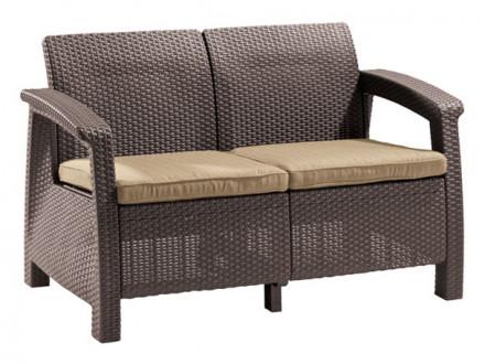 Плетеный диван из искусственного ротанга