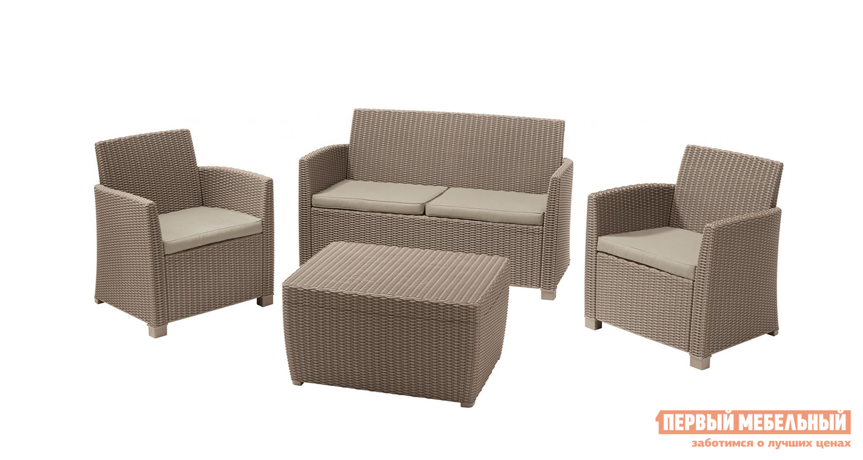 Комплект плетеной мебели Keter Комплект Corona set with cushion box wicker patio sofa set furniture with cushion and pillows manufacturer