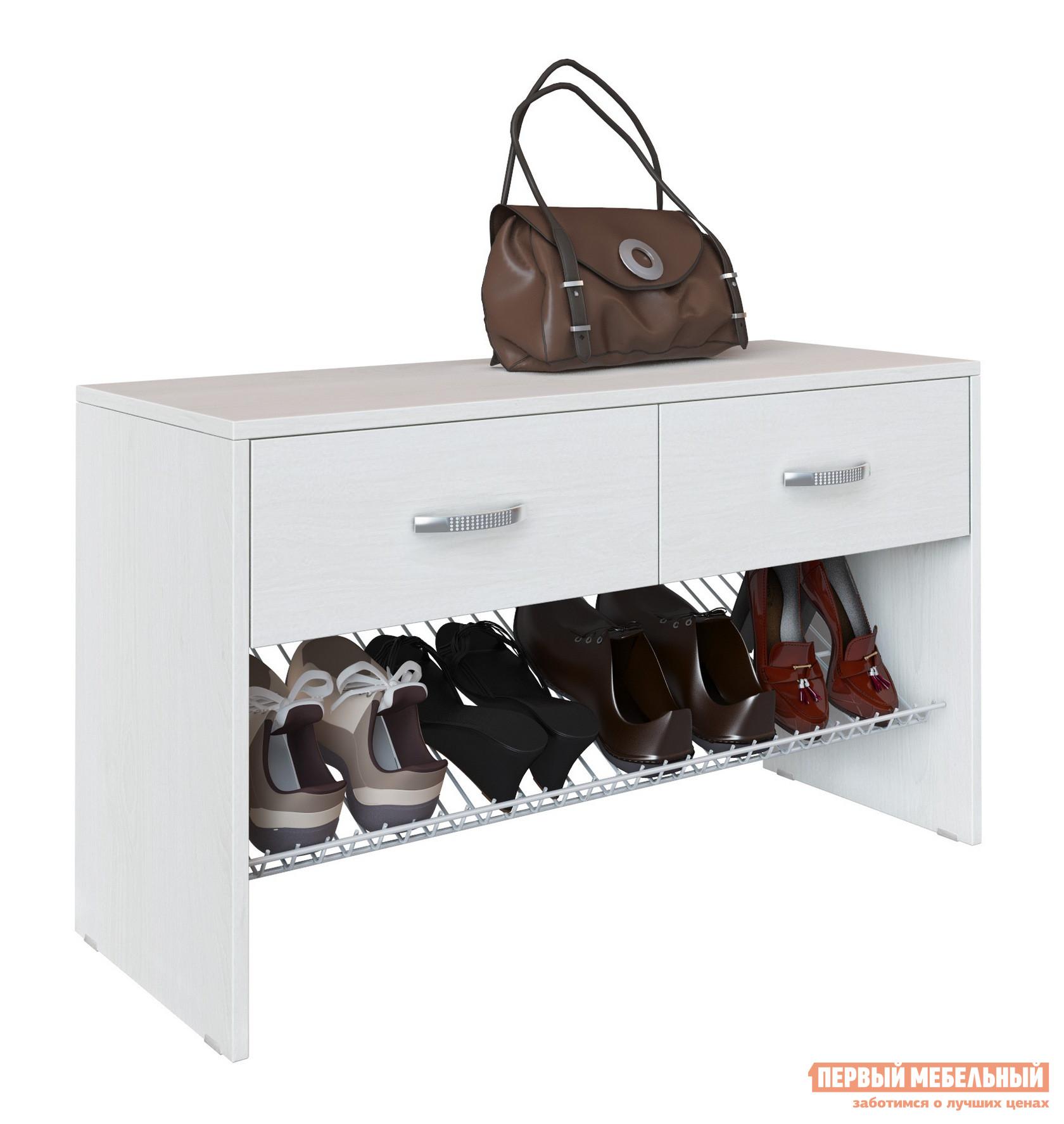 Обувница МФ Мастер Тумба Талио-2 БелыйОбувницы<br>Габаритные размеры ВхШхГ 546x940x350 мм. Небольшая обувница для прихожей или гардеробной комнаты.  Модель имеет два выдвижных ящика для разных мелочей и широкую сетку на четыре пары обуви.  На верхней крышке удобно поставить сумки.  Цветовое разнообразие модели позволит подобрать обувницу под любой интерьер. Изготавливается из ЛДСП. Обратите внимание! Обувницу не рекомендуется использоваться в качестве банкетки для переобувания!<br><br>Цвет: Белый<br>Цвет: Белый<br>Цвет: Светлое дерево<br>Высота мм: 546<br>Ширина мм: 940<br>Глубина мм: 350<br>Кол-во упаковок: 1<br>Форма поставки: В разобранном виде<br>Срок гарантии: 2 года<br>Тип: Открытые<br>Материал: Деревянные, из ЛДСП<br>Размер: Широкие<br>Глубина: Глубокие<br>Особенности: Дешевые