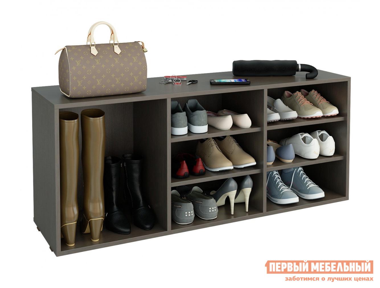 Обувница МФ Мастер Лана-3 ПОЛ-3 (1С+2П) ВенгеОбувницы<br>Габаритные размеры ВхШхГ 532x1262x352 мм. Вместительная обувница с тремя отделениями станет прекрасным дополнением любой прихожей.  В ней  поместится до двенадцати пар невысокой обуви и две пары сапог с высоким голенищем. Большой выбор цветовых решений позволяет подобрать обувницу под любой интерьер. Изделие выполнено из ЛДСП.<br><br>Цвет: Венге<br>Высота мм: 532<br>Ширина мм: 1262<br>Глубина мм: 352<br>Кол-во упаковок: 1<br>Форма поставки: В разобранном виде<br>Срок гарантии: 2 года<br>Тип: Открытые<br>Материал: ЛДСП<br>Размер: Широкие<br>Глубина: Глубокие<br>Стиль: Классический